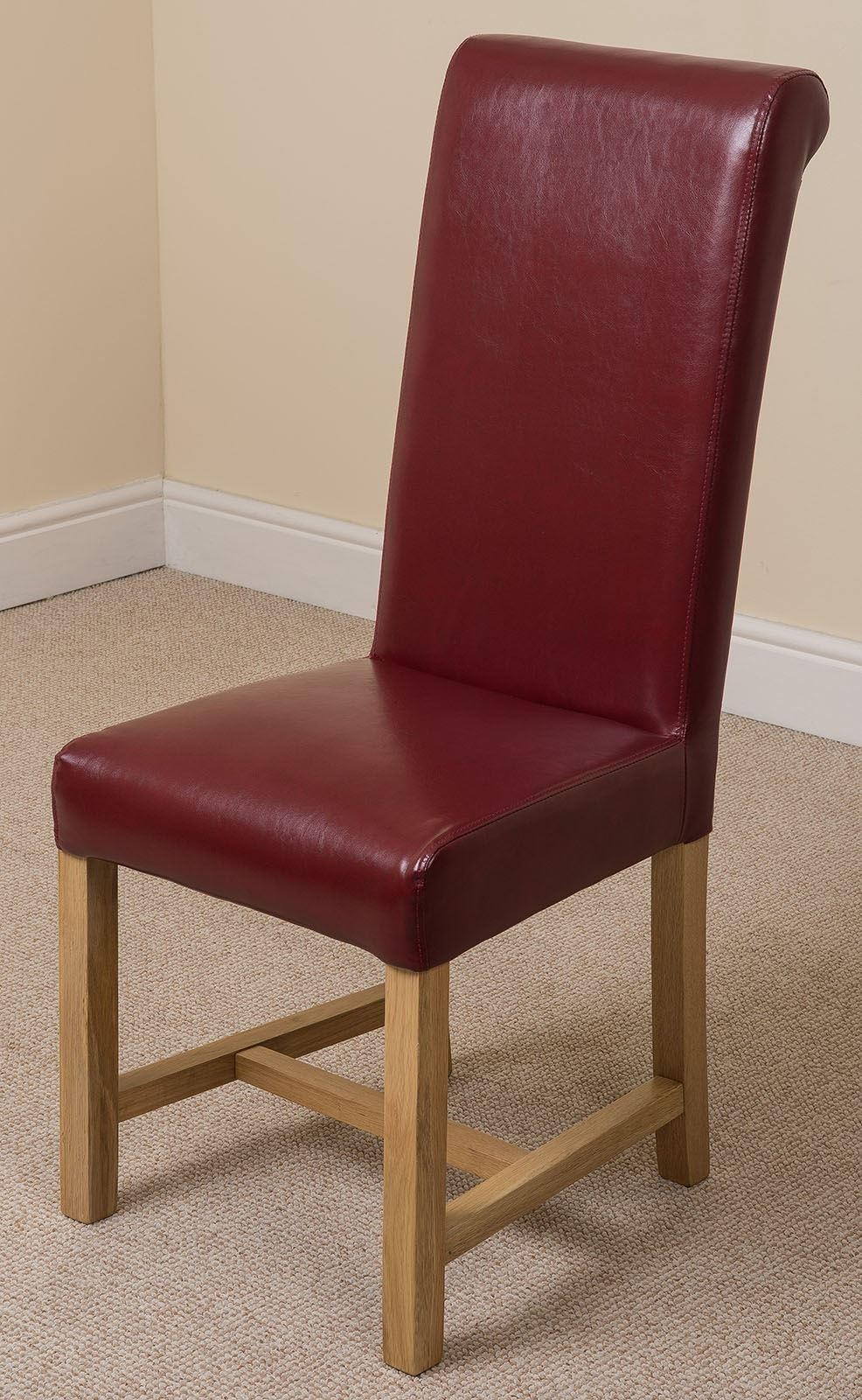 Washington Scroll Top Dining Chair Burgundy Leather