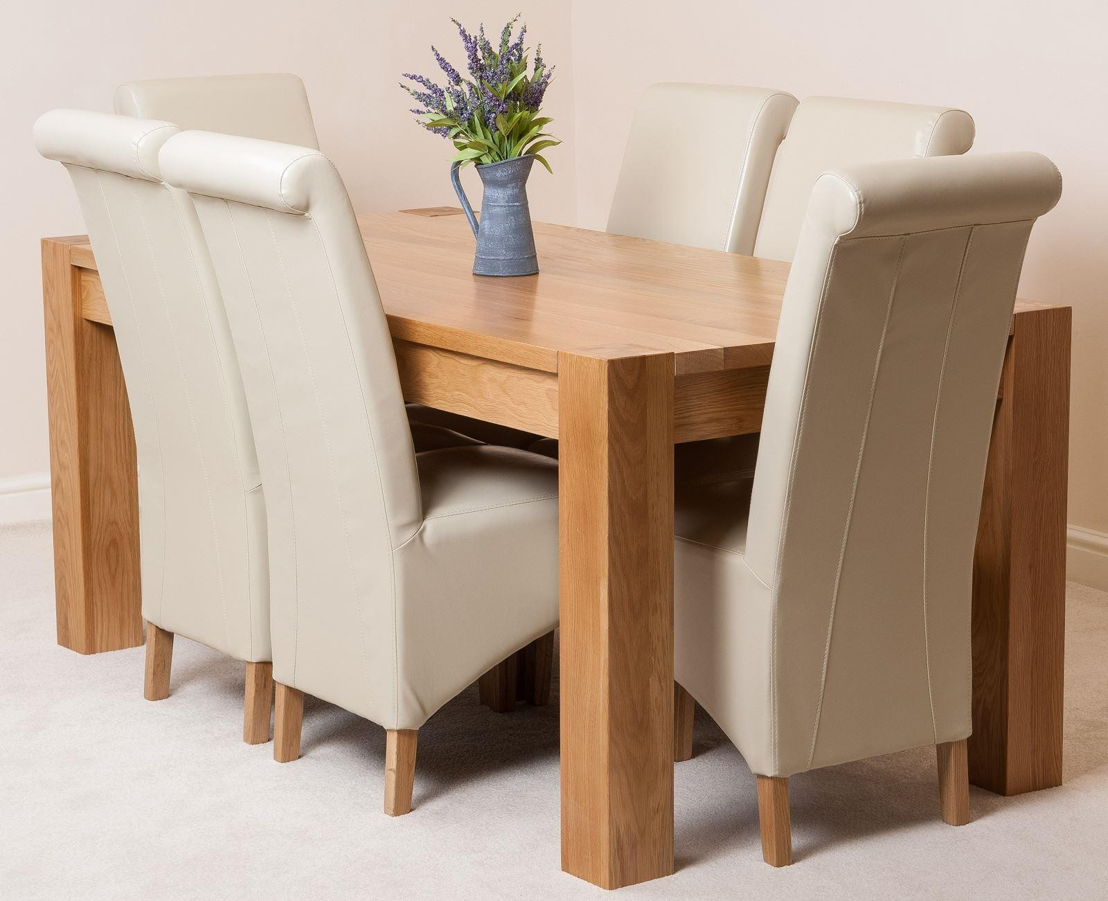 Kuba Oak Dining Table With 6 Ivory Lola Chairs