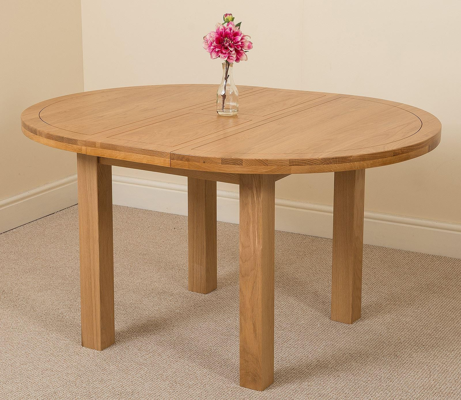 Edmonton Solid Oak Extending Oval Dining Table With 6 Princeton