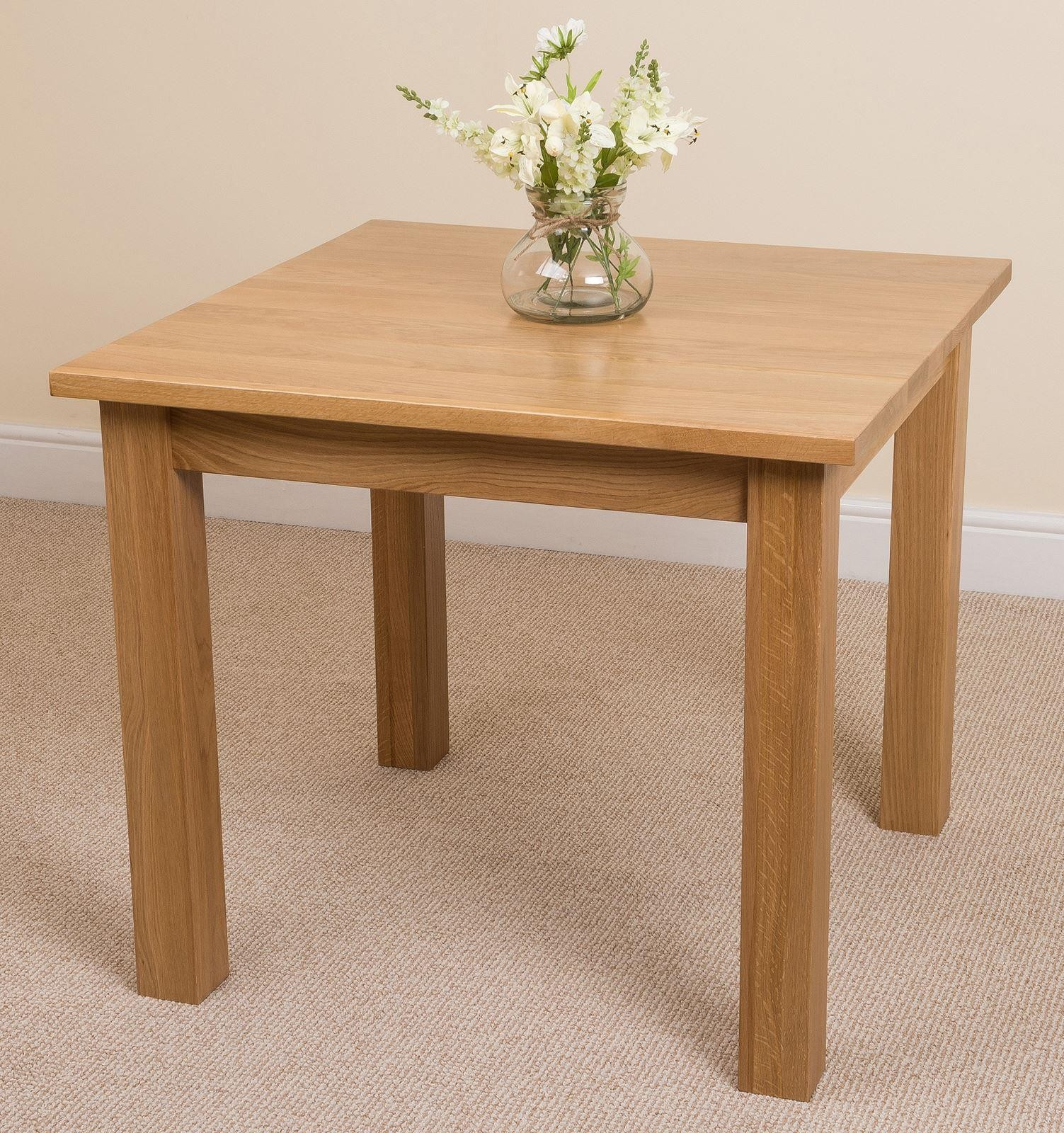 Oslo Oak Dining Set 4 Brown Leather Chairs