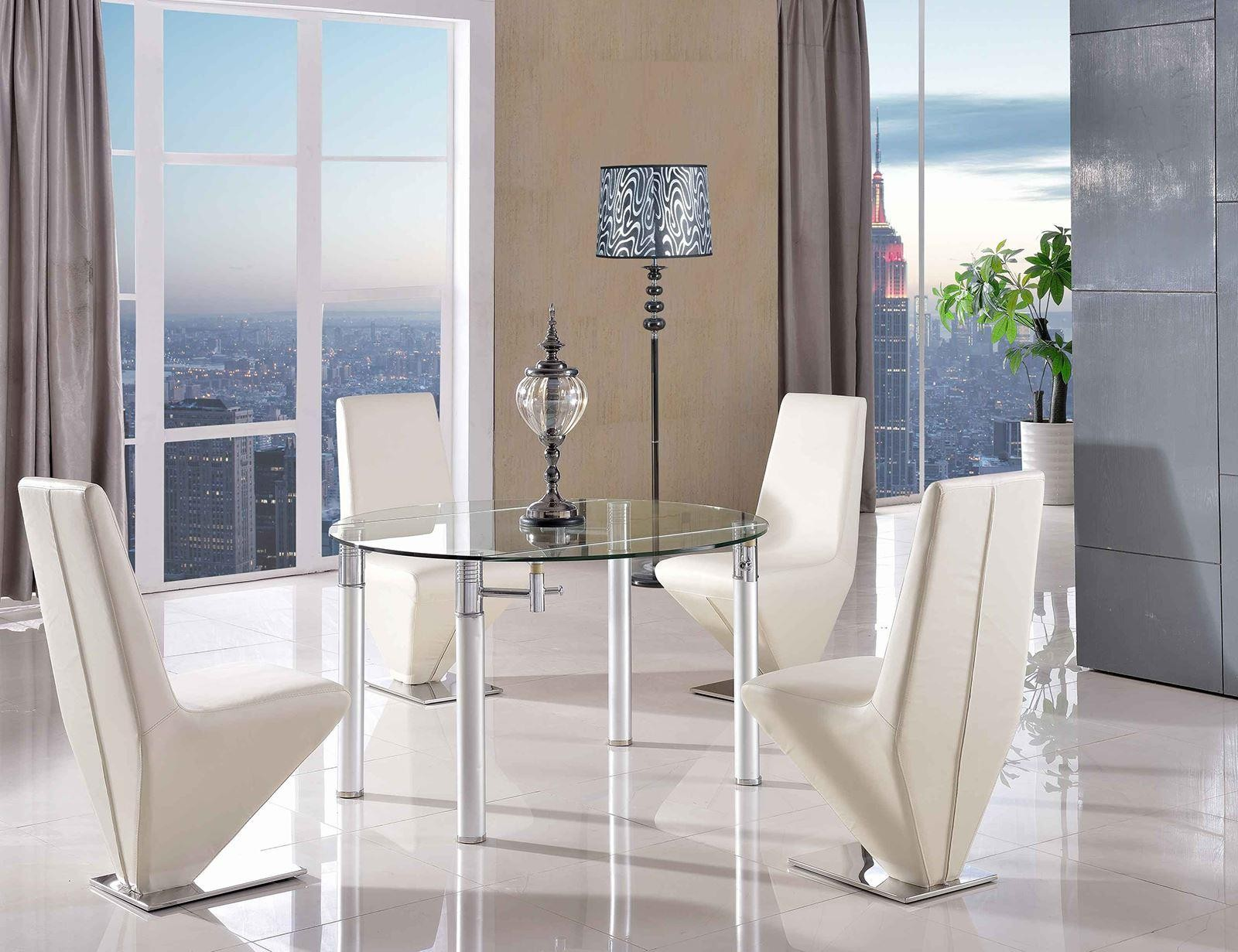 Torino dining set with 4 ivory chairs modern furniture for Modern furniture direct