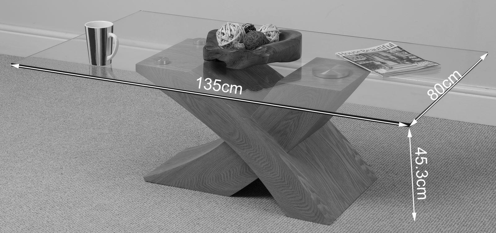 Milano coffee table glass and solid oak modern for Modern furniture direct