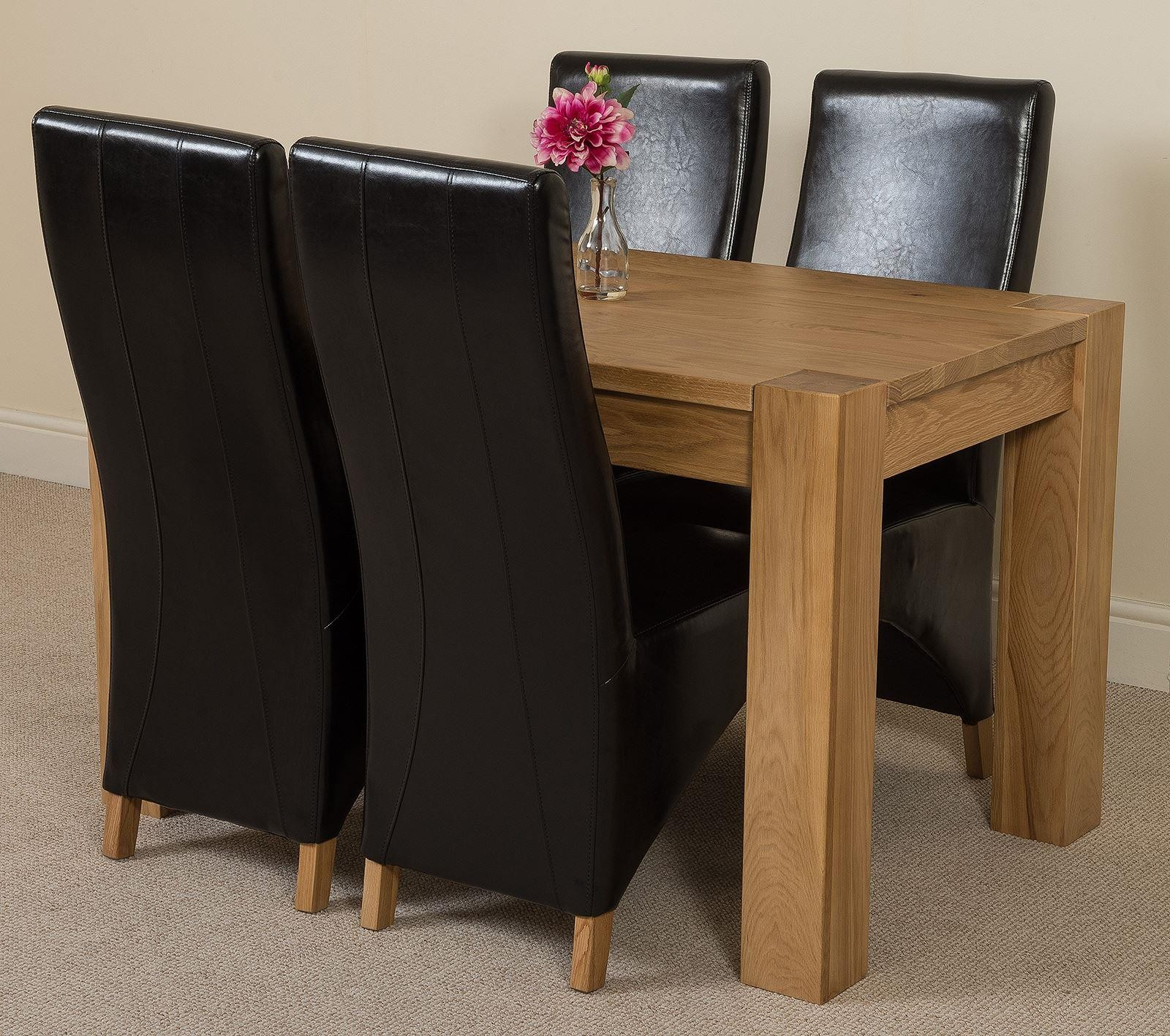 Kuba small dining set 4 brown chairs modern furniture direct for Modern furniture direct