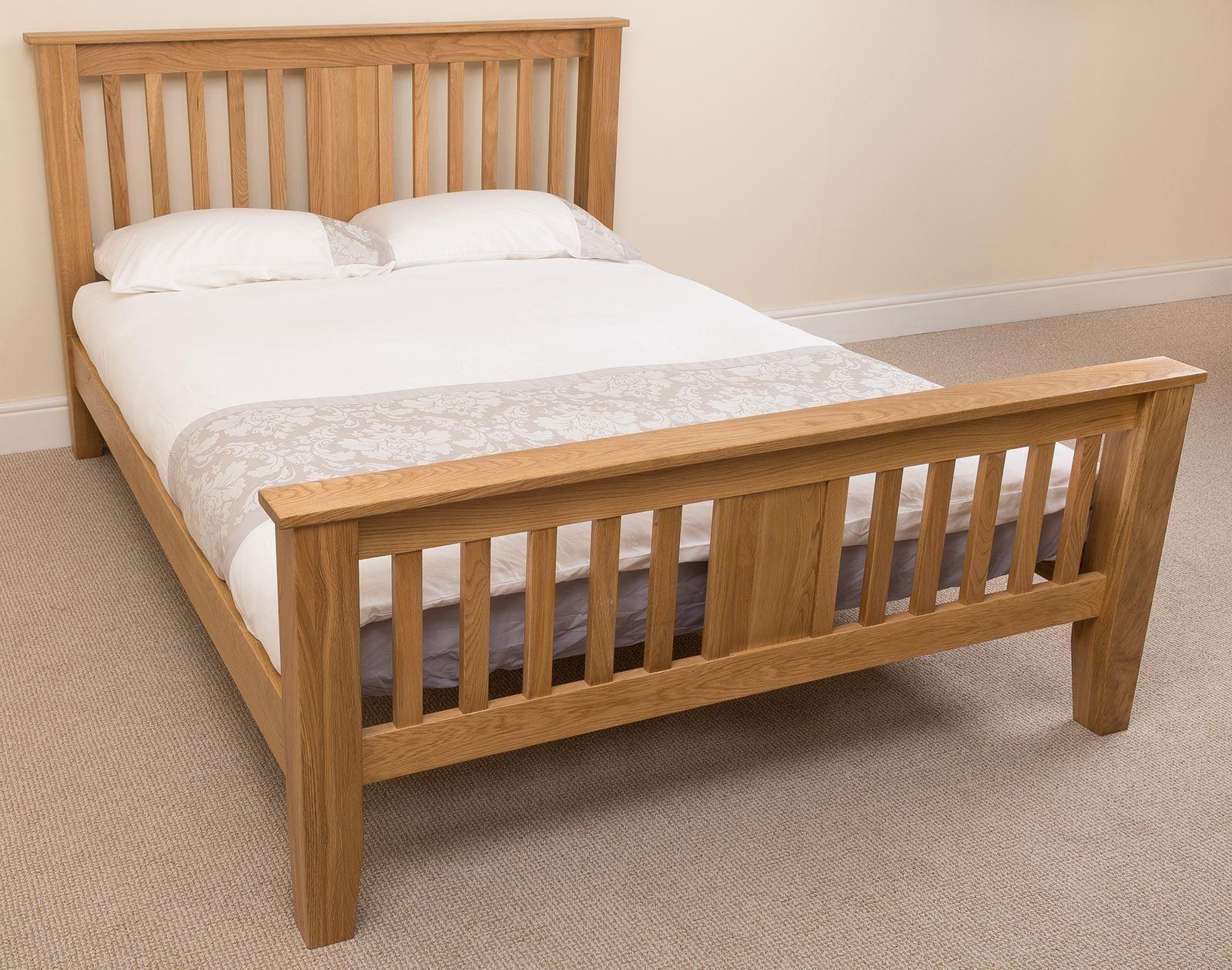 Boston Solid Oak 4ft6 Bed And Mattress Sets Modern