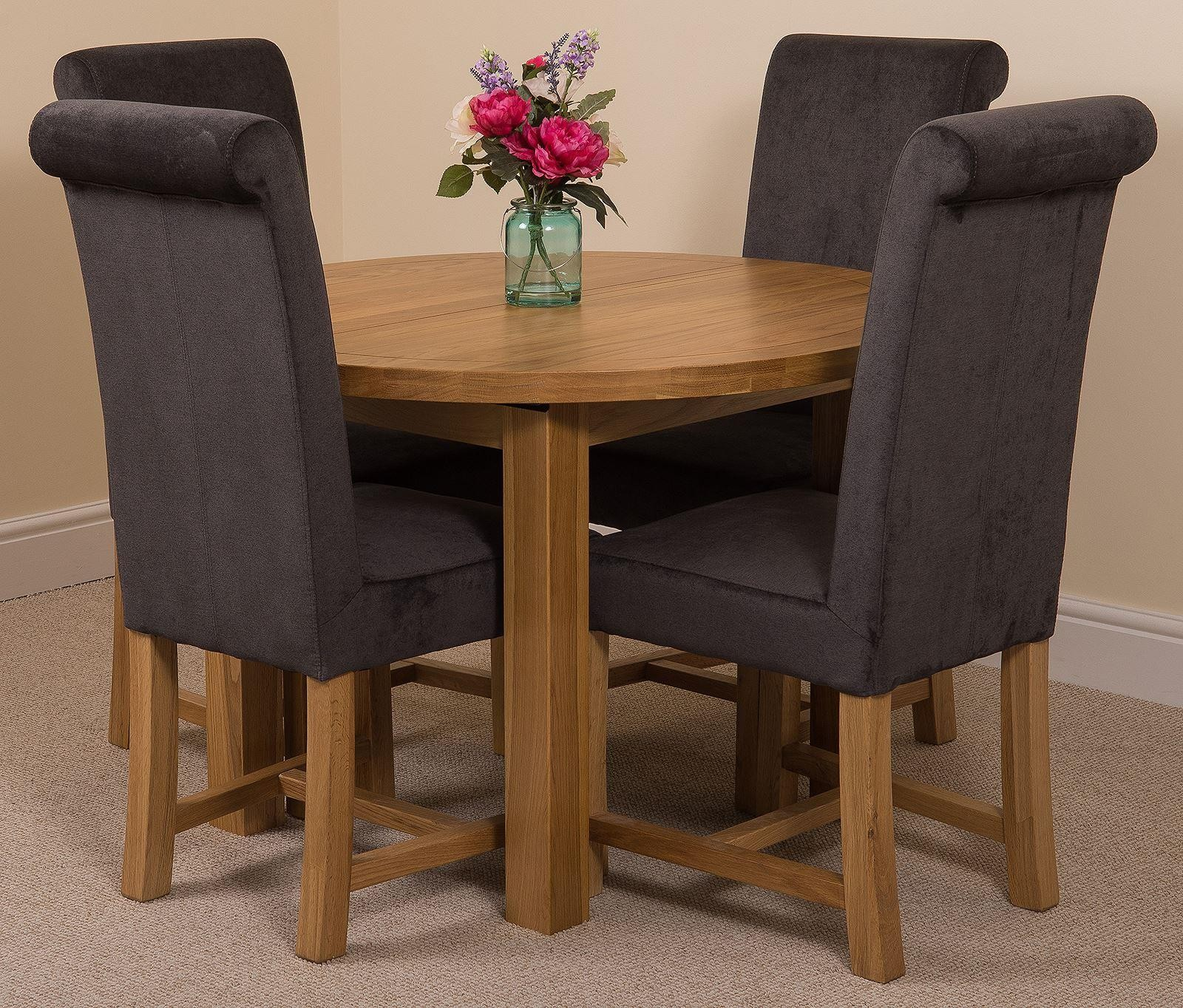 Edmonton Solid Oak Extending Oval Dining Table with 4 ...