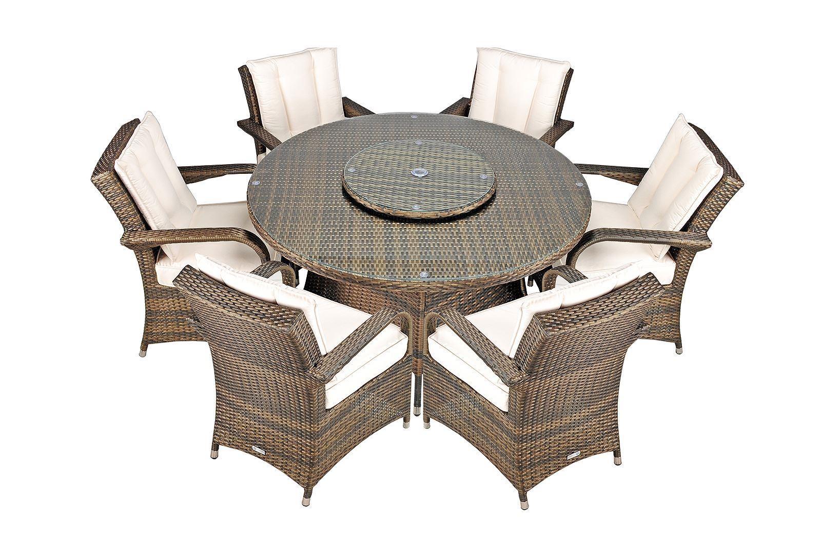 Arizona Rattan Garden Furniture 6 Seat Dining Set With