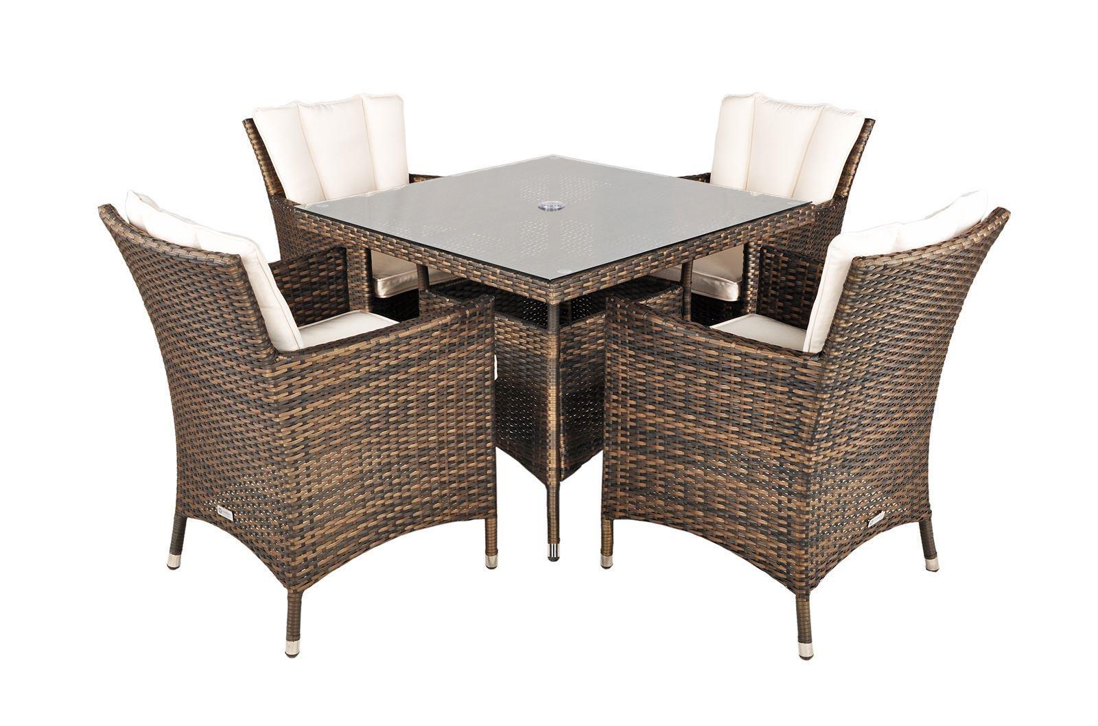 Savannah rattan garden furniture 4 seat dining set for Modern furniture direct