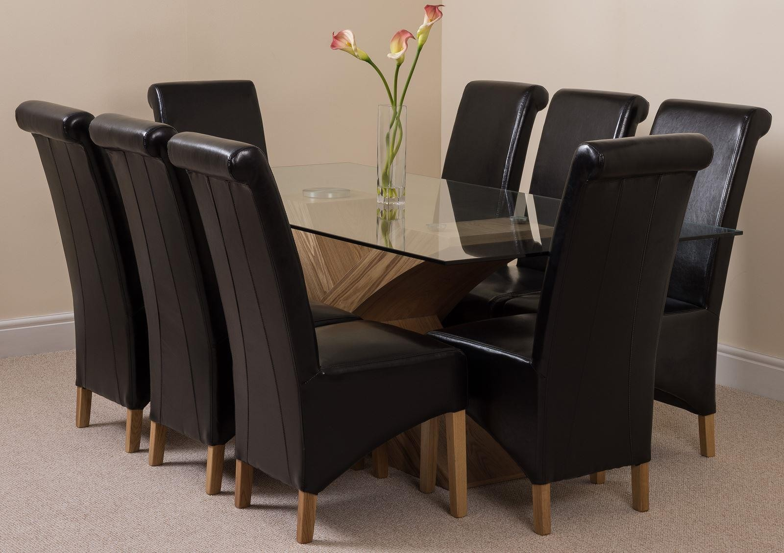 Valencia Oak 200cm Glass Dining Set With 8 Black Chairs