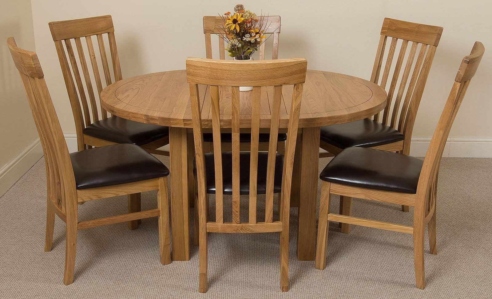 Edmonton Solid Oak Extending Oval Dining Table With 6 ...