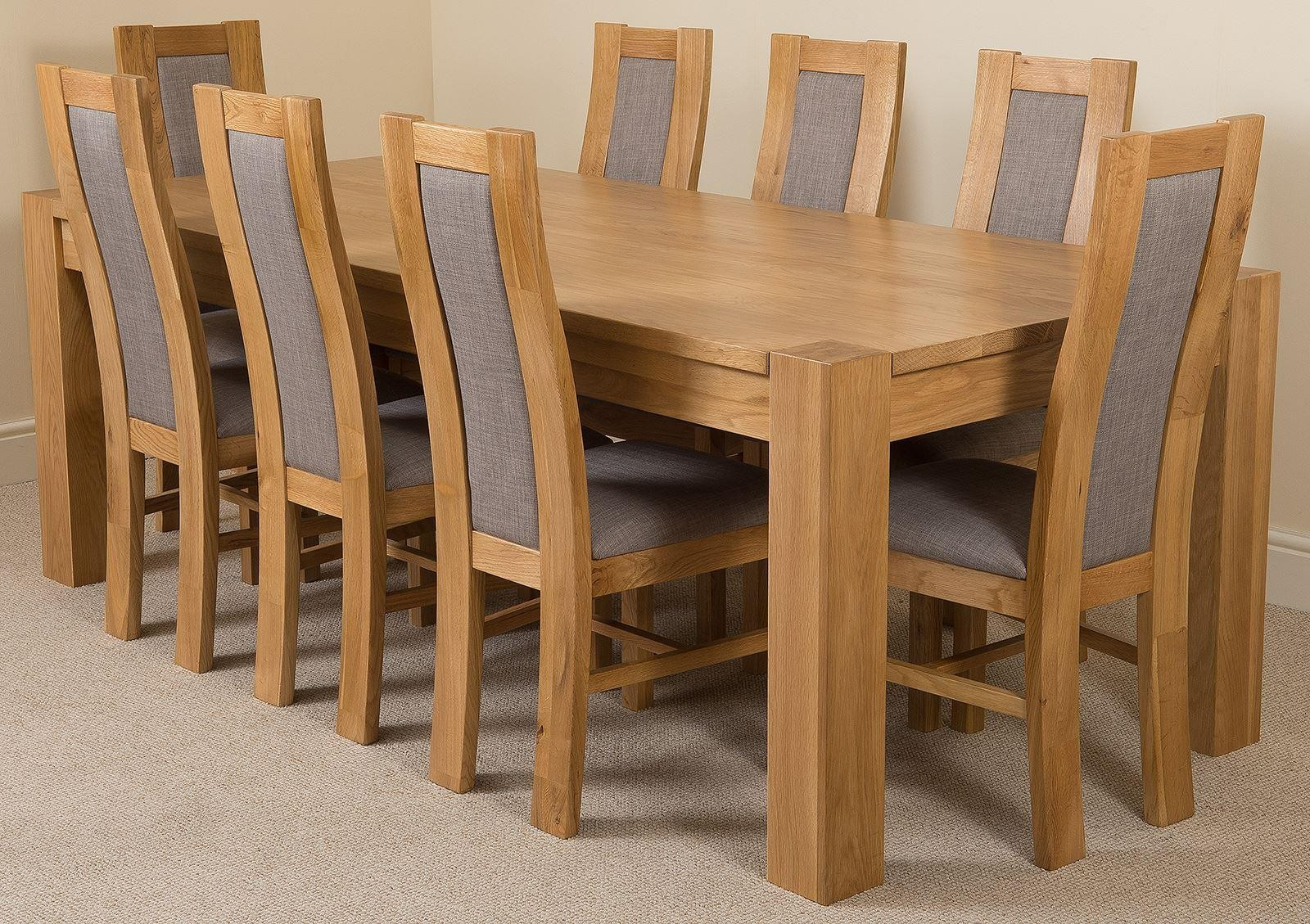 Magnificent Kuba Oak Dining Table With 8 Grey Stanford Dining Chairs Cjindustries Chair Design For Home Cjindustriesco