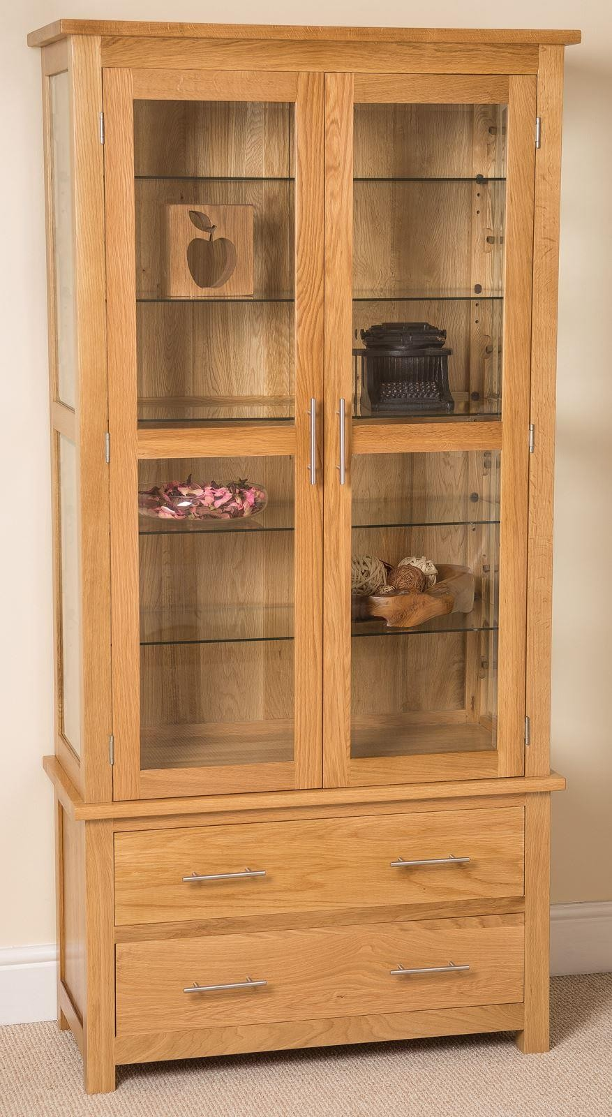 Oslo Solid Oak Glazed Display Cabinet