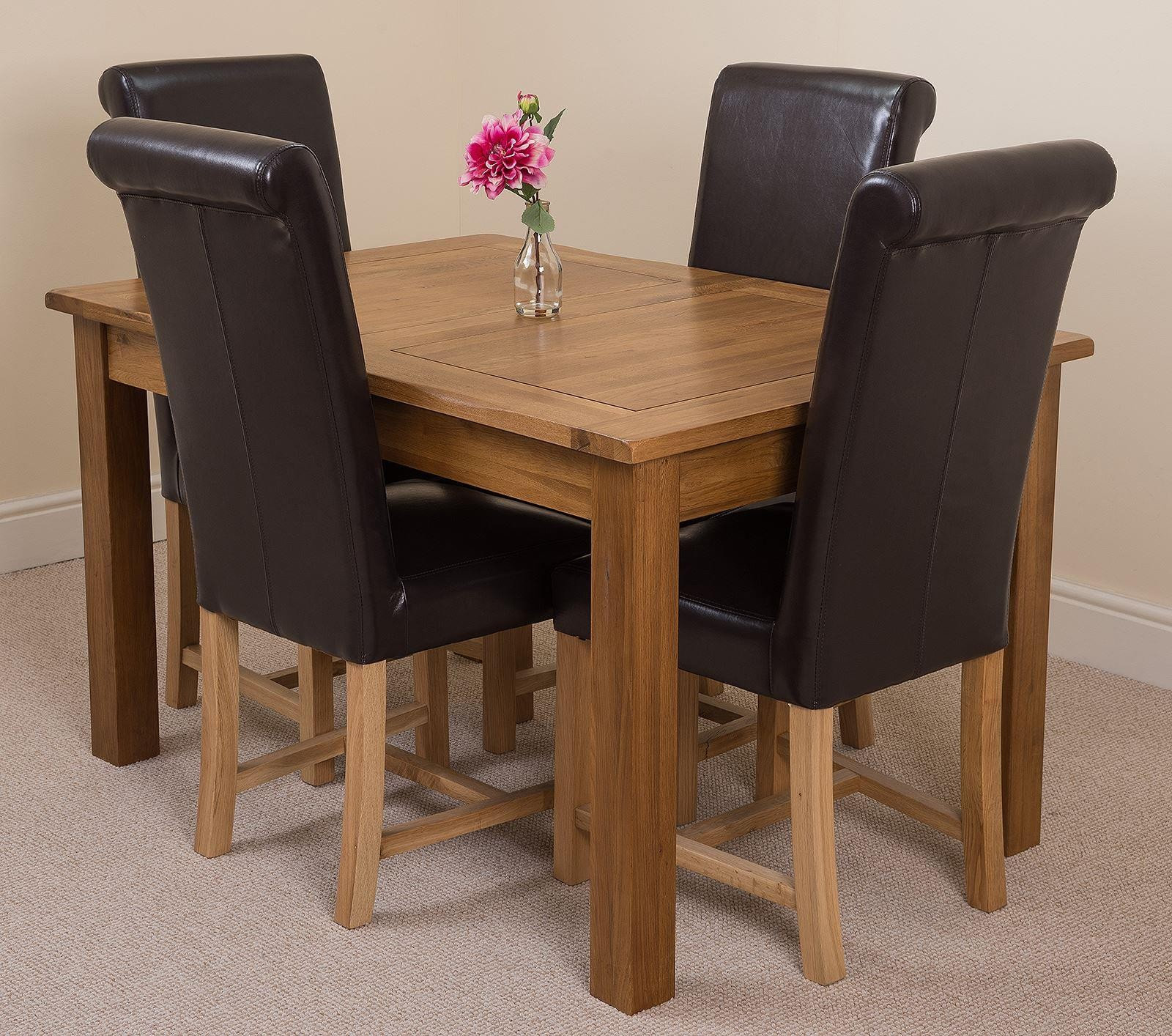 Cotswold Rustic Solid Oak 132cm-198cm Extending Farmhouse Dining Table with 4 Washington Dining Chairs [Brown Leather]