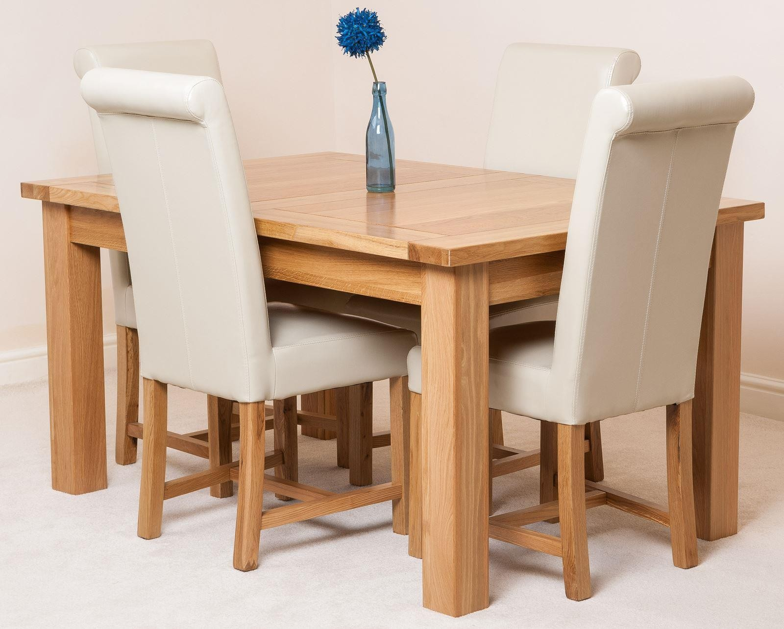 Seattle Solid Oak 150cm 210cm Extending Dining Table With 4 Washington Chairs Ivory Leather