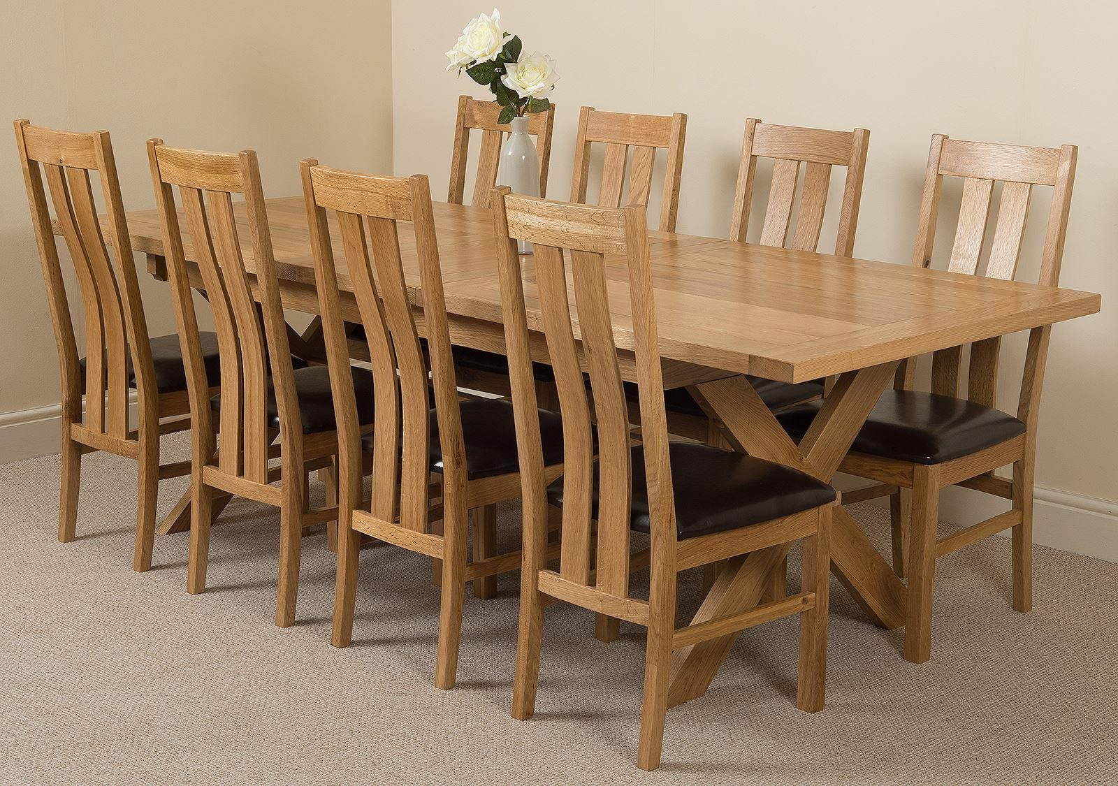 Vermont Solid Oak 200cm-240cm Crossed Leg Extending Dining Table with 8 Princeton Solid Oak Dining Chairs [Light Oak and Brown Leather]
