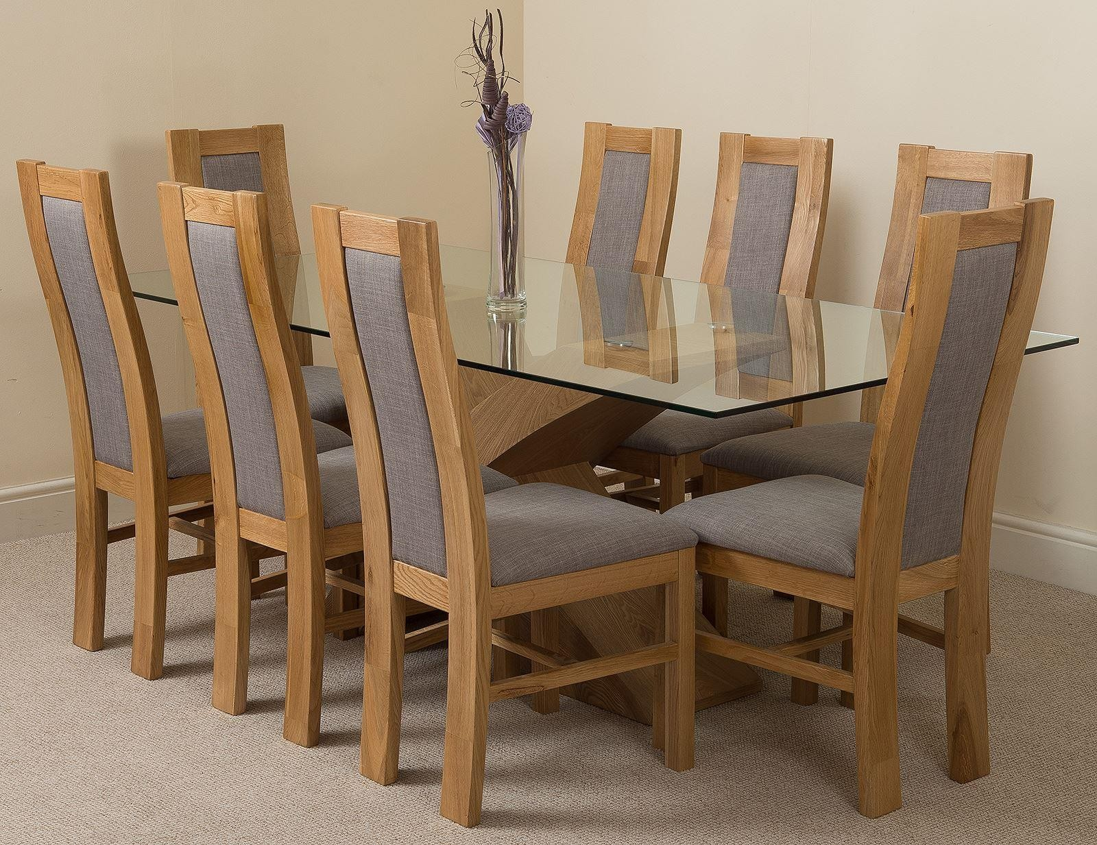 Valencia Oak 200cm Wood And Glass Dining Table With 8 Stanford Solid Oak Dining Chairs Light Oak And Grey Fabric Collections