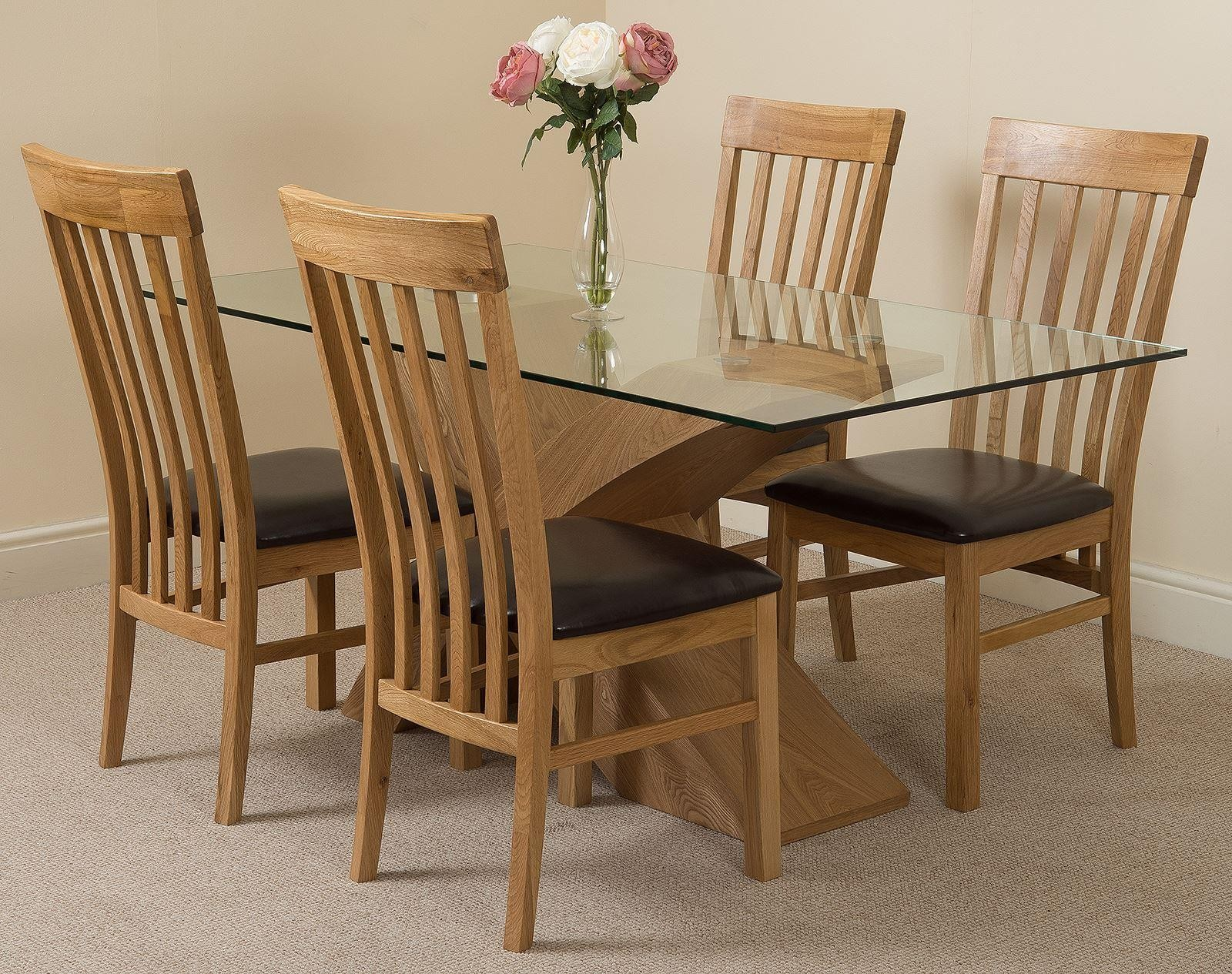 Valencia Oak 160cm Wood and Glass Dining Table with 4 Harvard Solid Oak Dining Chairs [Light Oak and Brown Leather]