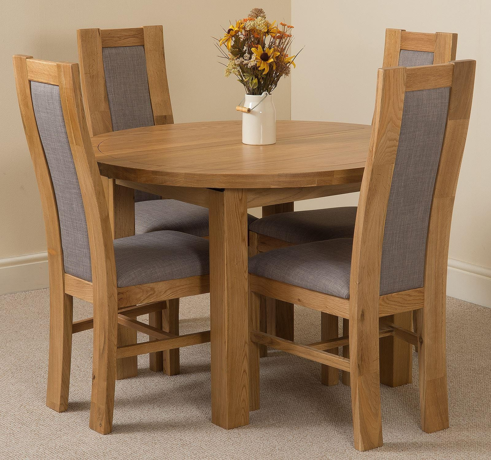 Edmonton Solid Oak Extending Oval Dining Table With 4 Stanford Chairs Light And Grey Fabric