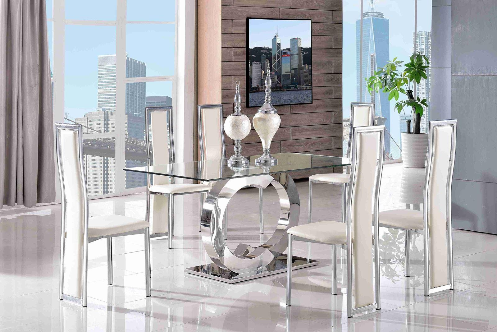 Channel Glass and Polished Steel Dining Table with 6 Elsa Designer Dining Chairs [Ivory]