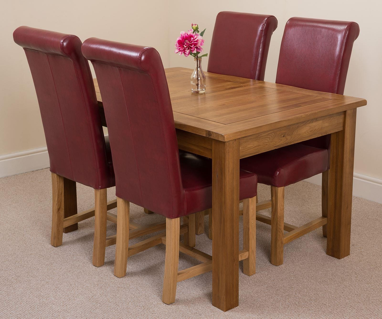 Cotswold Rustic Solid Oak 132cm-198cm Extending Farmhouse Dining Table with 4 Washington Dining Chairs [Burgundy Leather]