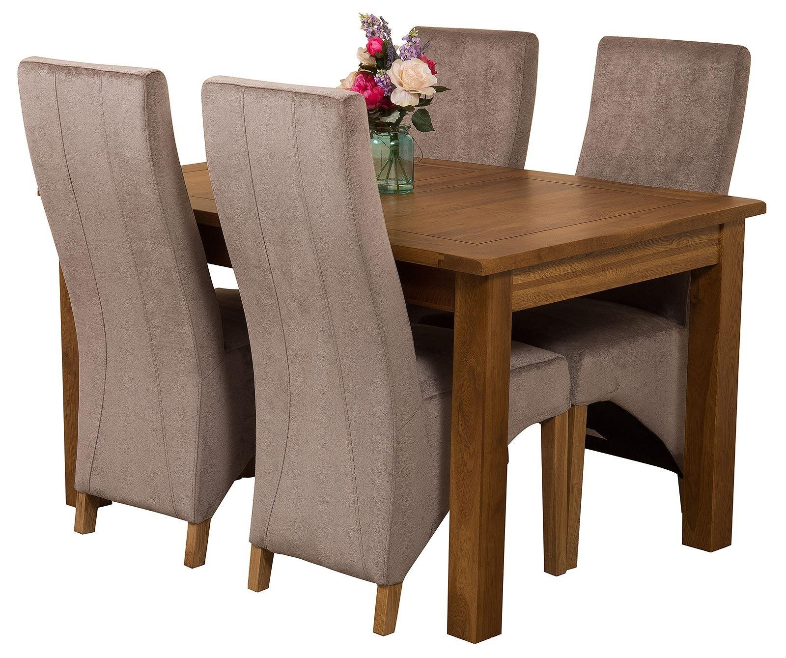 Cotswold Extending Oak Dining Table with 4 Black Lola ...