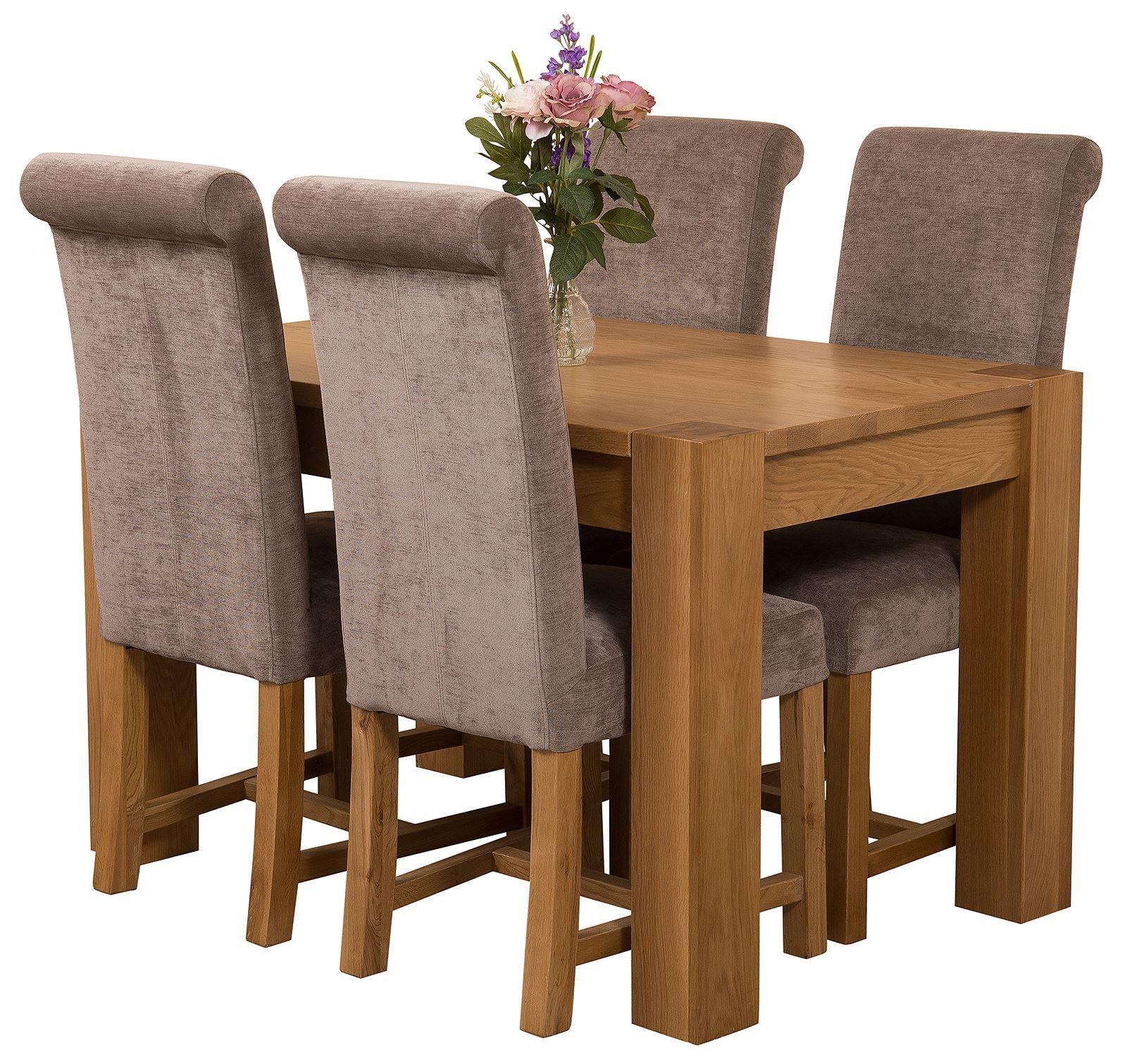 Kuba Solid Oak 125cm Dining Table with 4 Washington Dining Chairs [Grey Fabric]