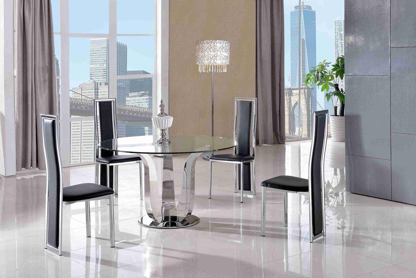 Naples Glass and Polished Steel Dining Table with 4 Elsa Designer Dining Chairs [Black]