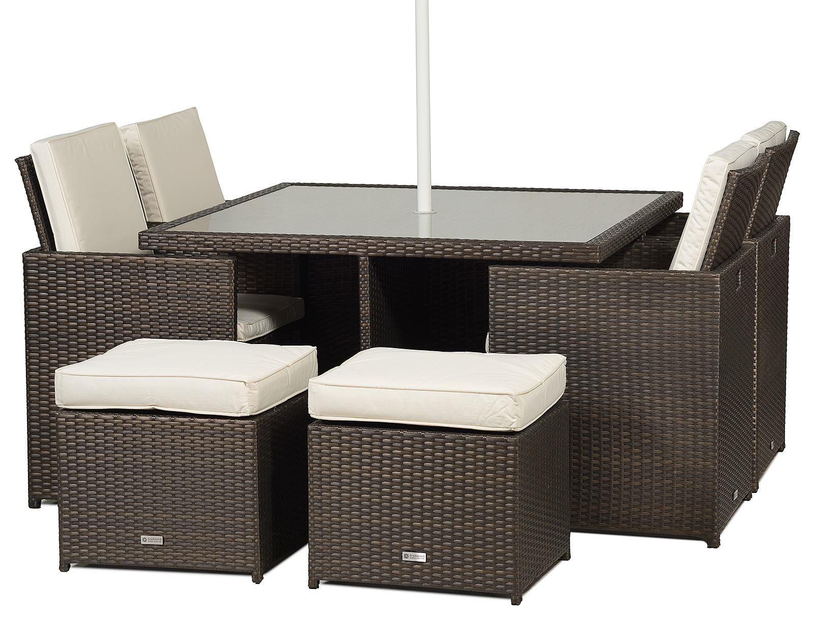 giardino rattan garden furniture 4 seat cube dining set