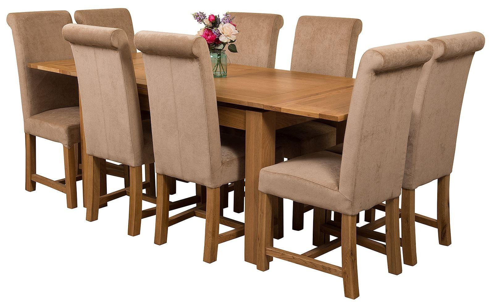 Richmond Solid Oak 140cm-220cm Extending Dining Table with 8 Washington Dining Chairs [Beige Fabric]