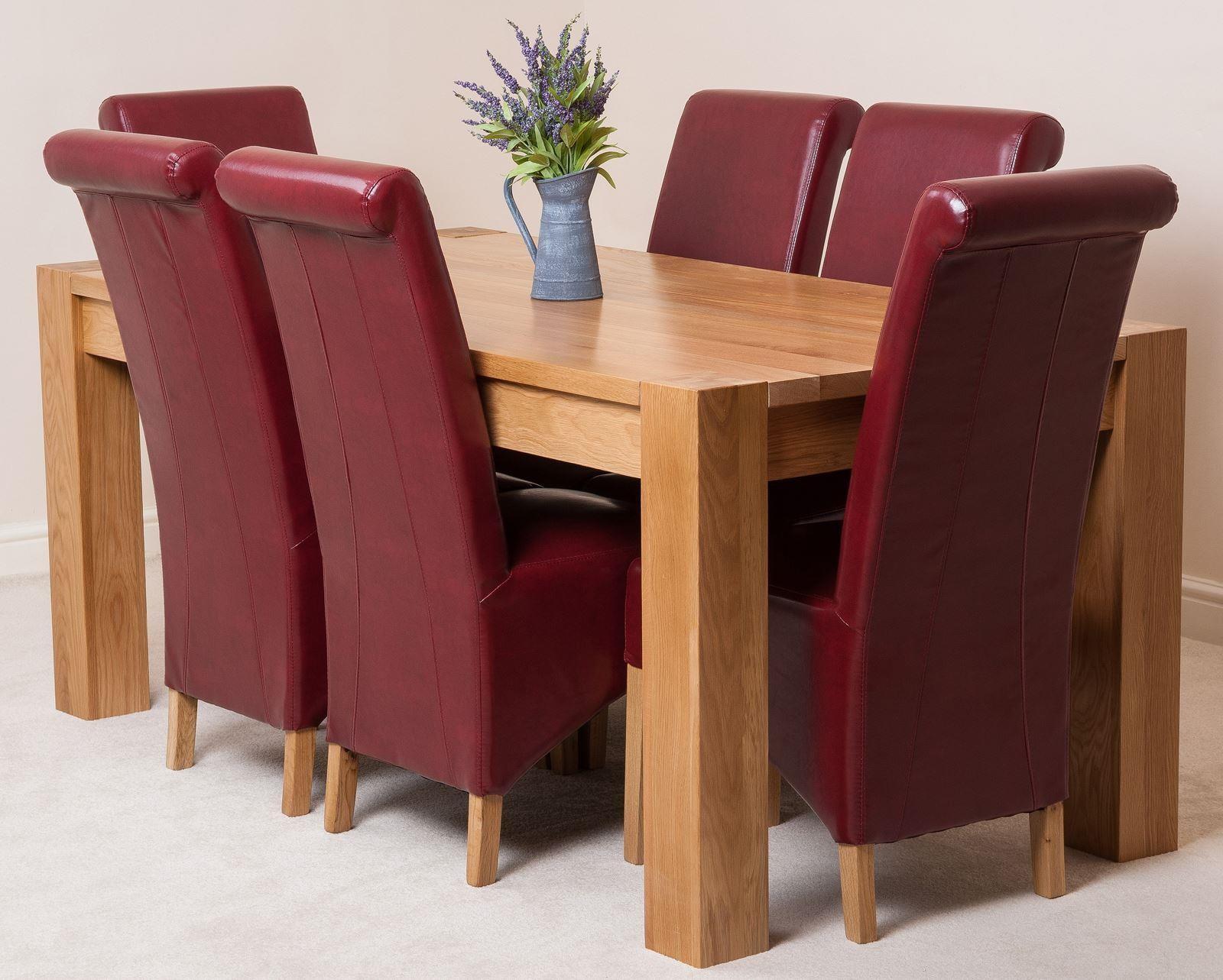 Kuba Oak Dining Table with 9 Burgundy Montana Dining Chairs