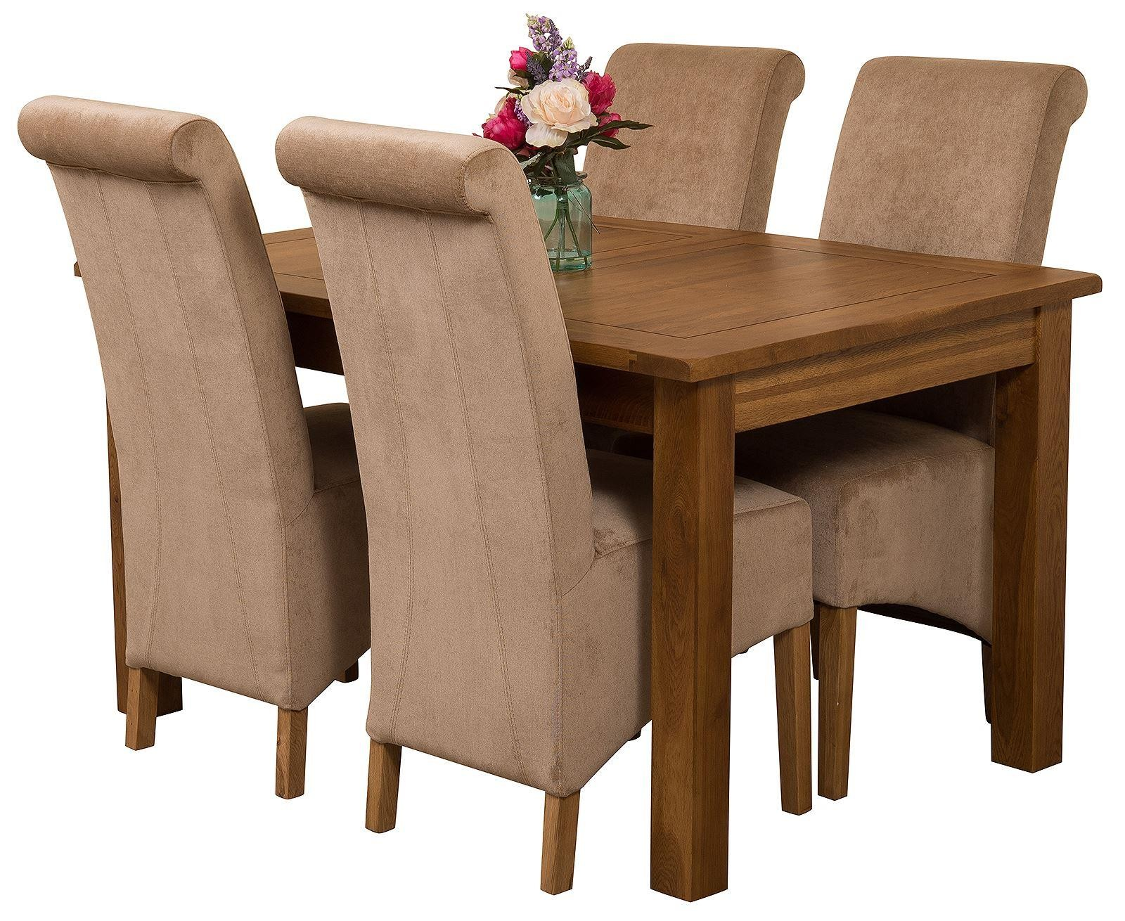 Cotswold Rustic Solid Oak 132cm-198cm Extending Farmhouse Dining Table with 4 Montana Dining Chairs [Beige Fabric]