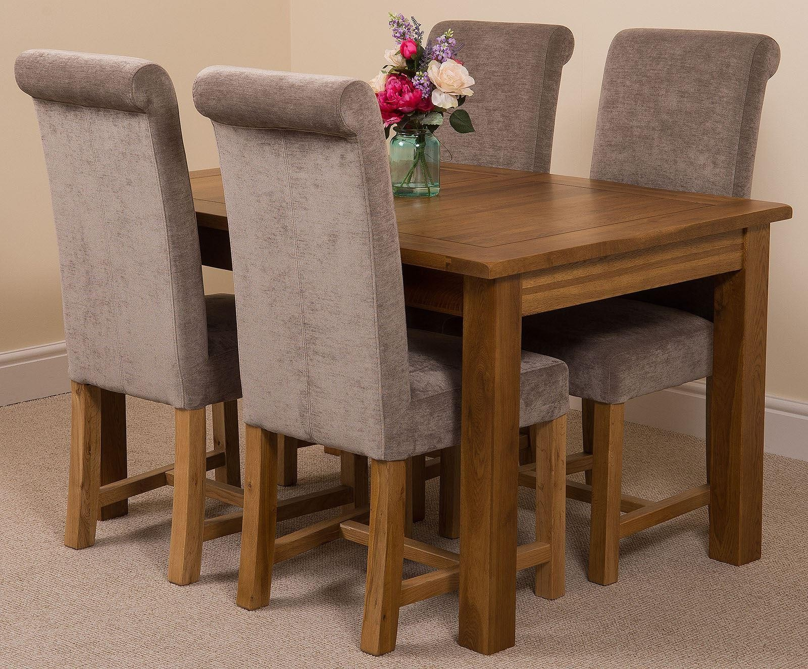 Cotswold Rustic Solid Oak 132cm-198cm Extending Farmhouse Dining Table with 4 Washington Dining Chairs [Grey Fabric]