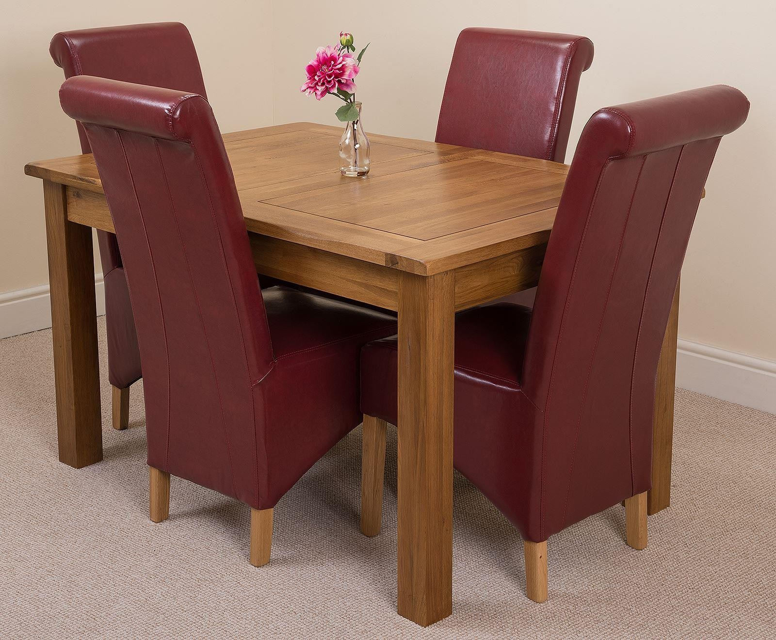 Cotswold Rustic Solid Oak 132cm-198cm Extending Farmhouse Dining Table with 4 Montana Dining Chairs [Burgundy Leather]