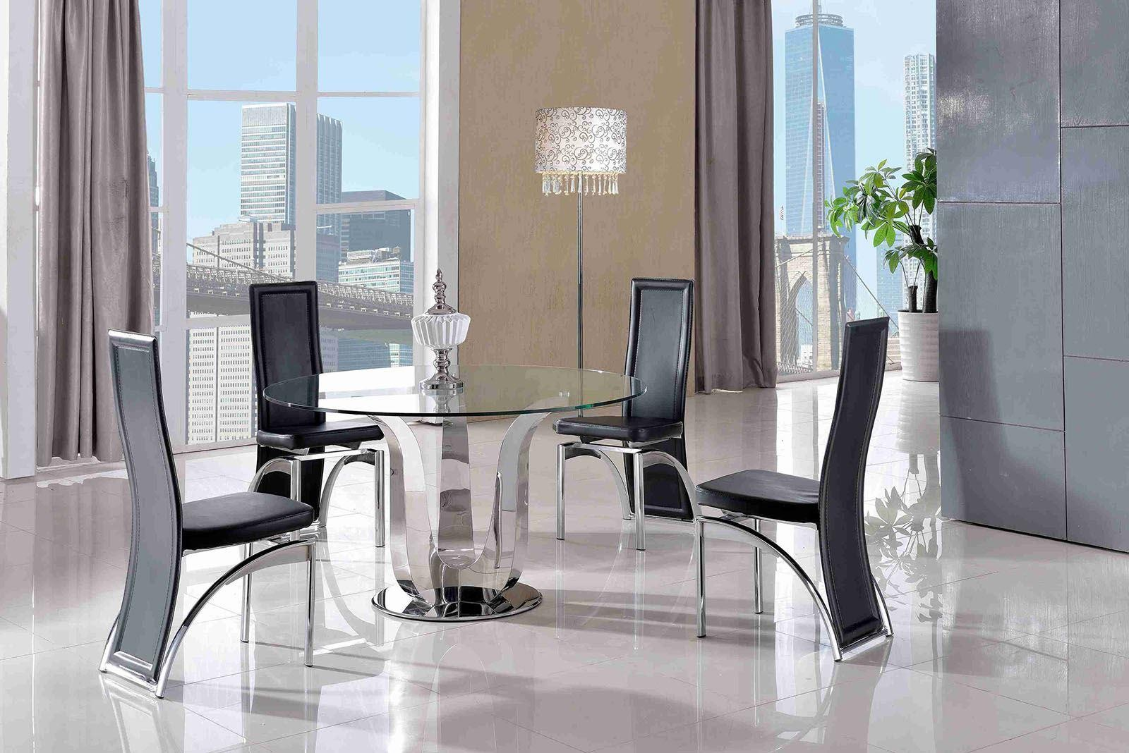 Naples Glass and Polished Steel Dining Table with 4 Alisa Dining Chair [Black]