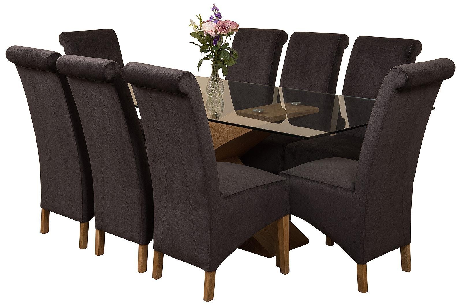 Valencia Oak 200cm Wood and Glass Dining Table with 8 Montana Dining Chairs [Black Fabric]
