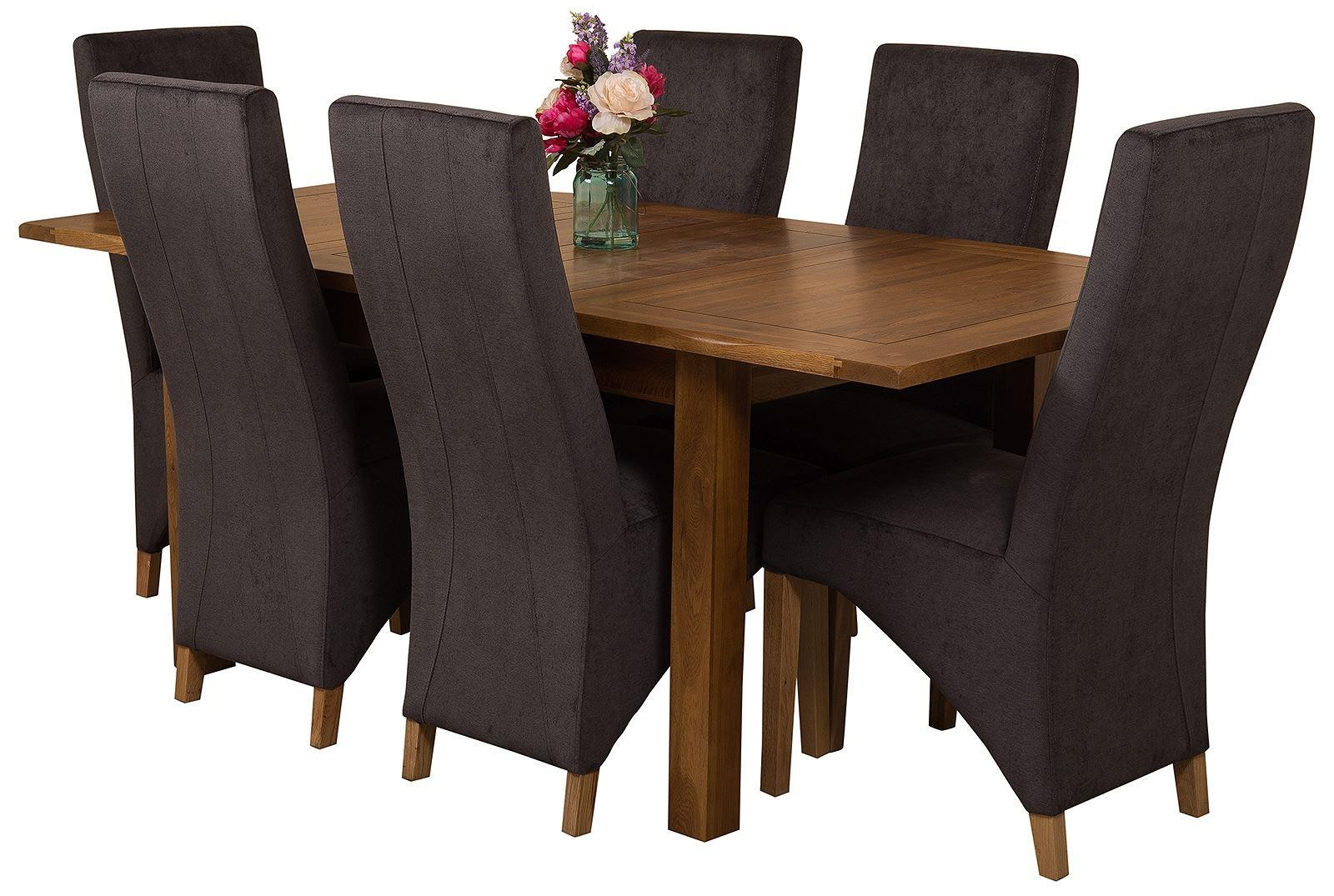 Cotswold Rustic Solid Oak 132cm-198cm Extending Farmhouse Dining Table with 6 Lola Dining Chairs [Black Fabric]