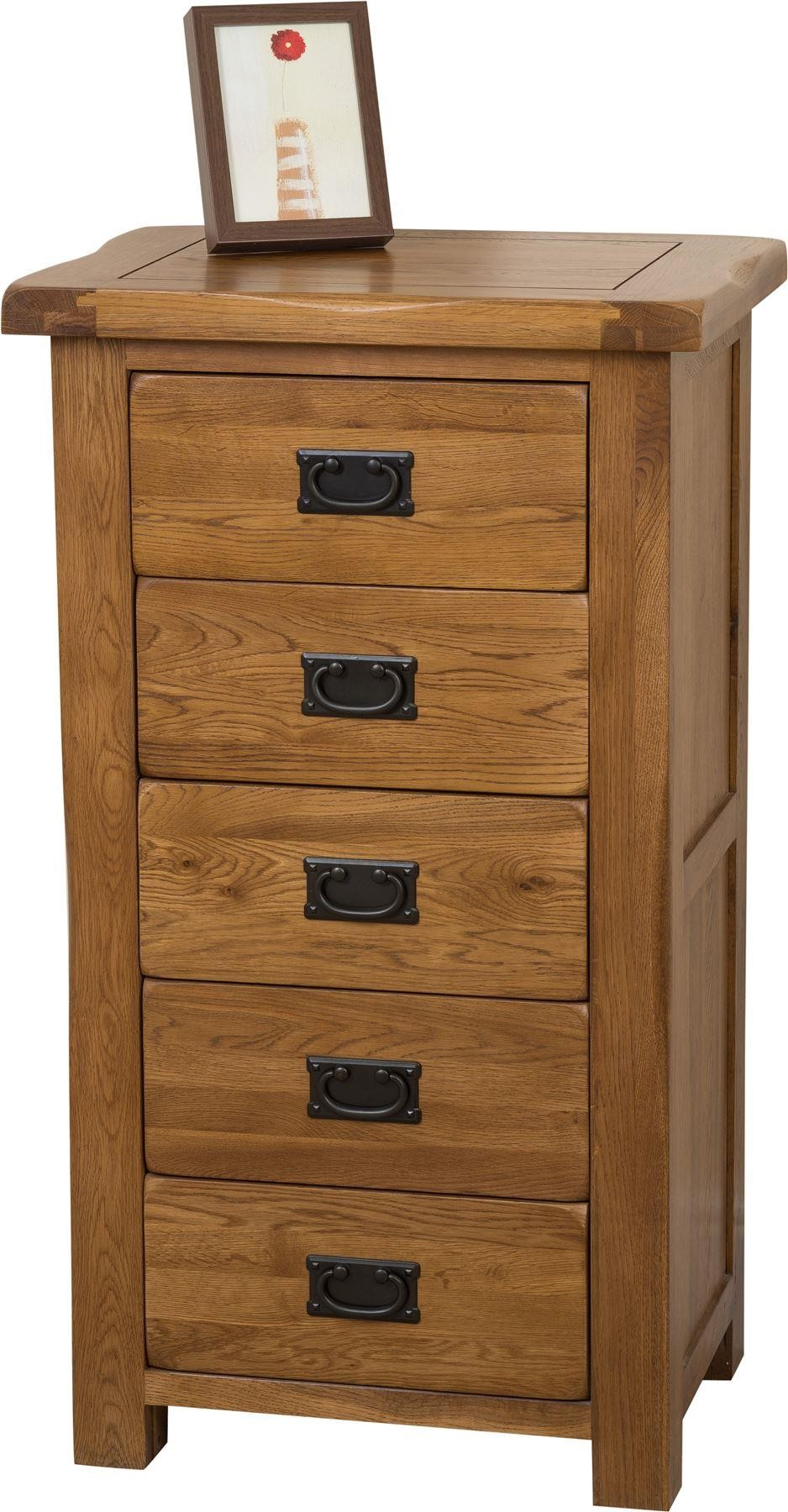 Cotswold Rustic Solid Oak Tallboy [5 drawer]