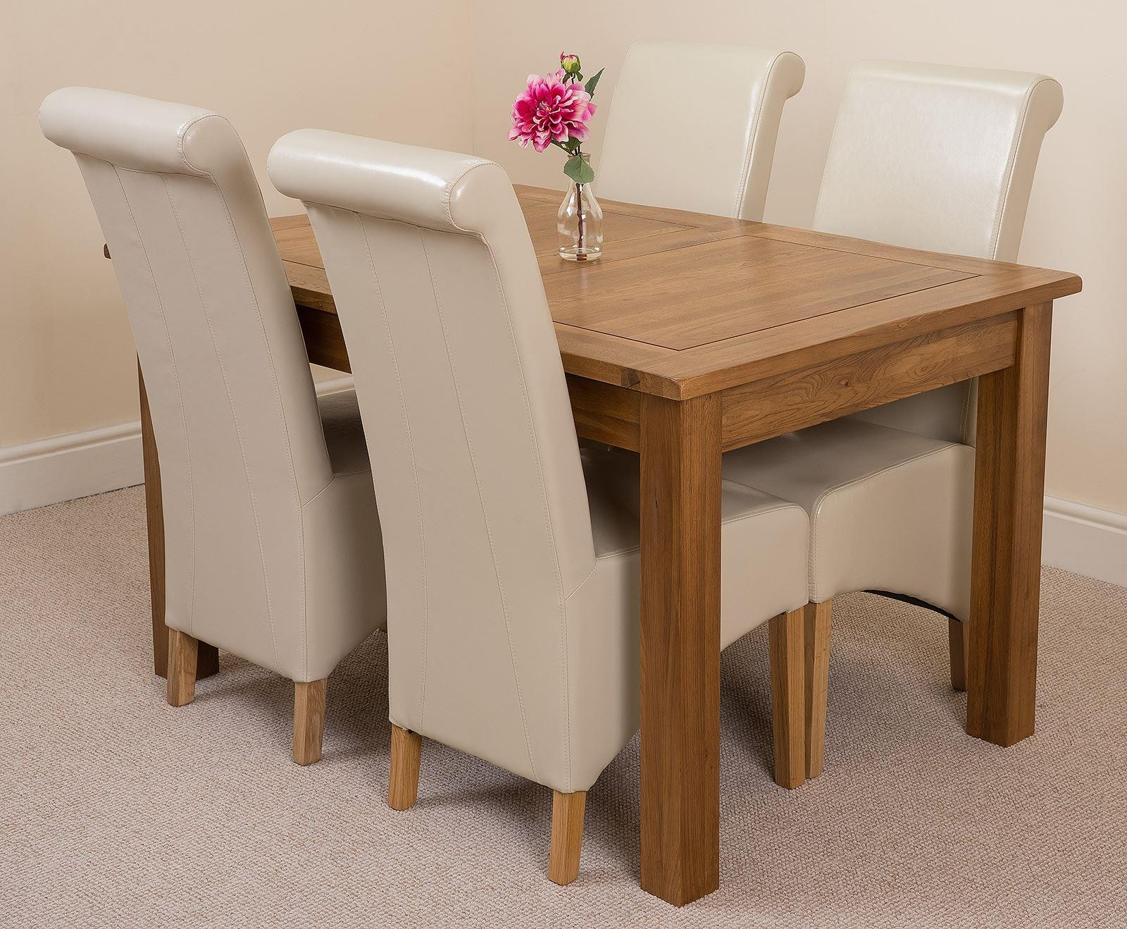 Cotswold Rustic Solid Oak 132cm-198cm Extending Farmhouse Dining Table with 4 Montana Dining Chairs [Ivory Leather]