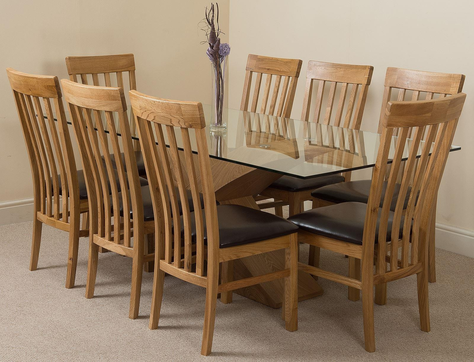 Valencia Oak 200cm Wood and Glass Dining Table with 8 Harvard Solid Oak Dining Chairs [Light Oak and Brown Leather]