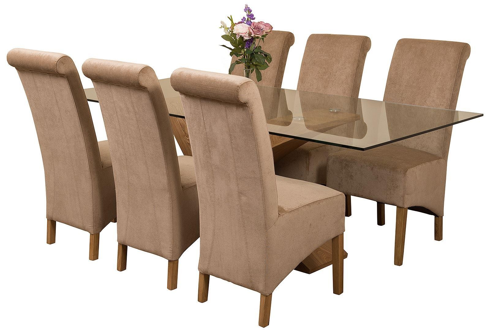 Valencia Oak 200cm Wood and Glass Dining Table with 6 Montana Dining Chairs [Beige Fabric]