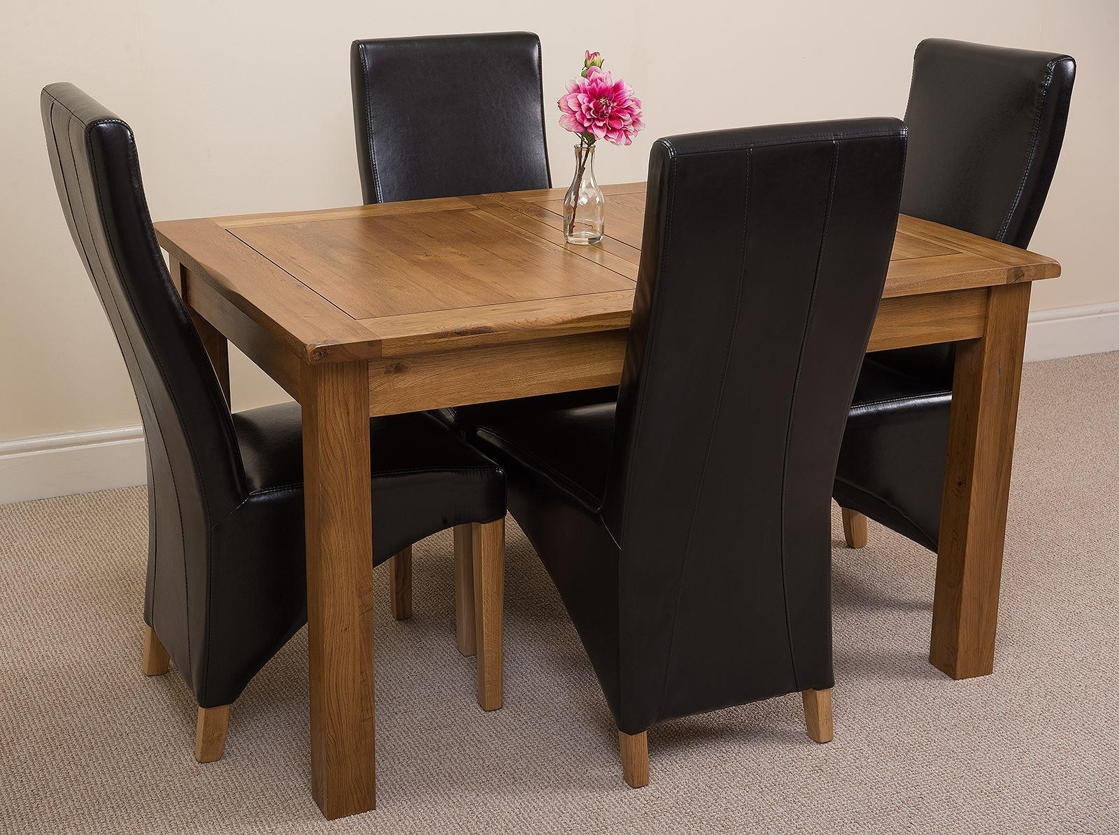 Cotswold Rustic Solid Oak 132cm-198cm Extending Farmhouse Dining Table with 4 Lola Dining Chairs [Black Leather]