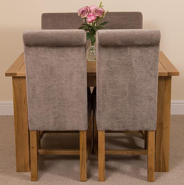Hampton Solid Oak 120-160cm Extending Dining Table with 4 Washington Dining Chairs [Grey Fabric]
