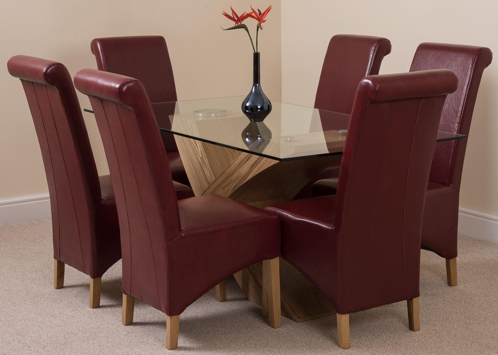 Valencia Oak 160cm Wood and Glass Dining Table with 6 Montana Dining Chairs [Burgundy Leather]