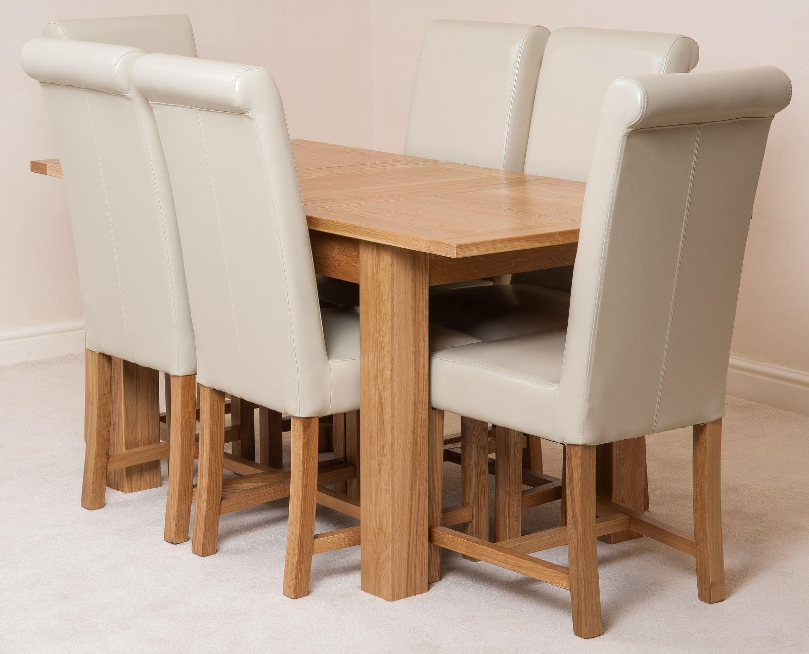 Hampton Solid Oak 120-160cm Extending Dining Table with 6 Washington Dining Chairs [Ivory Leather]