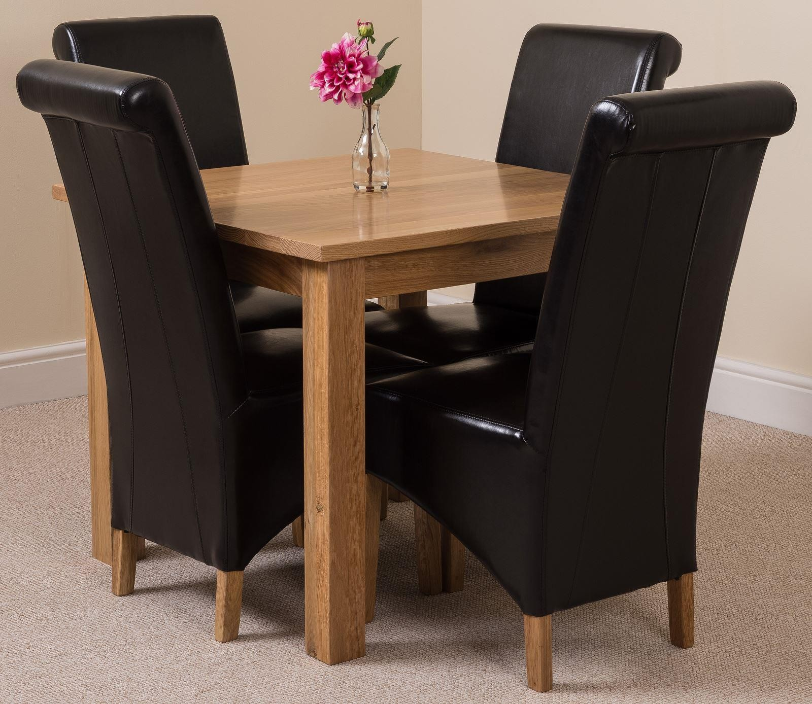 Oslo Solid Oak Dining Table with 4 Montana Dining Chairs [Black Leather]