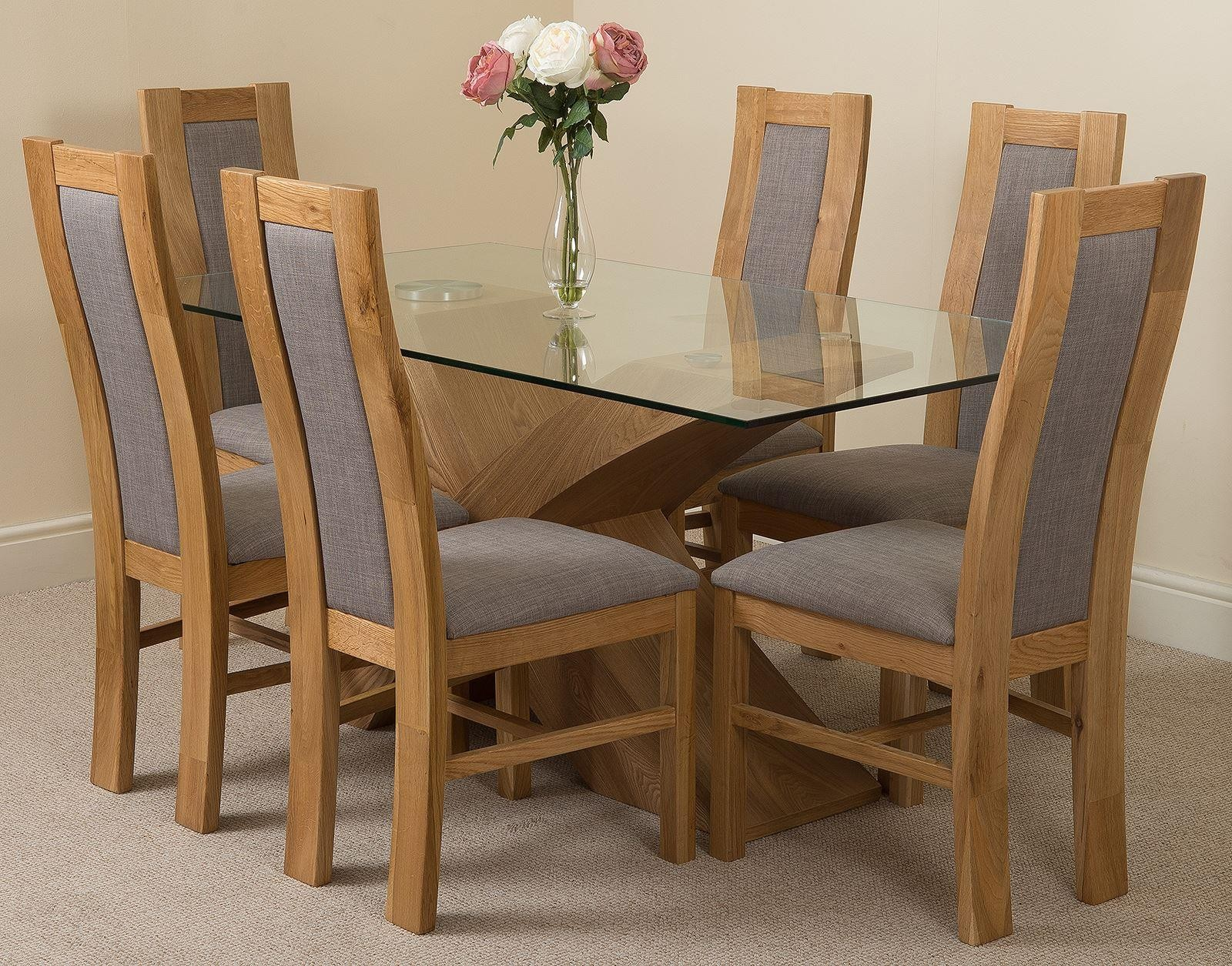 Valencia Oak 160cm Wood And Glass Dining Table With 6 Stanford Solid