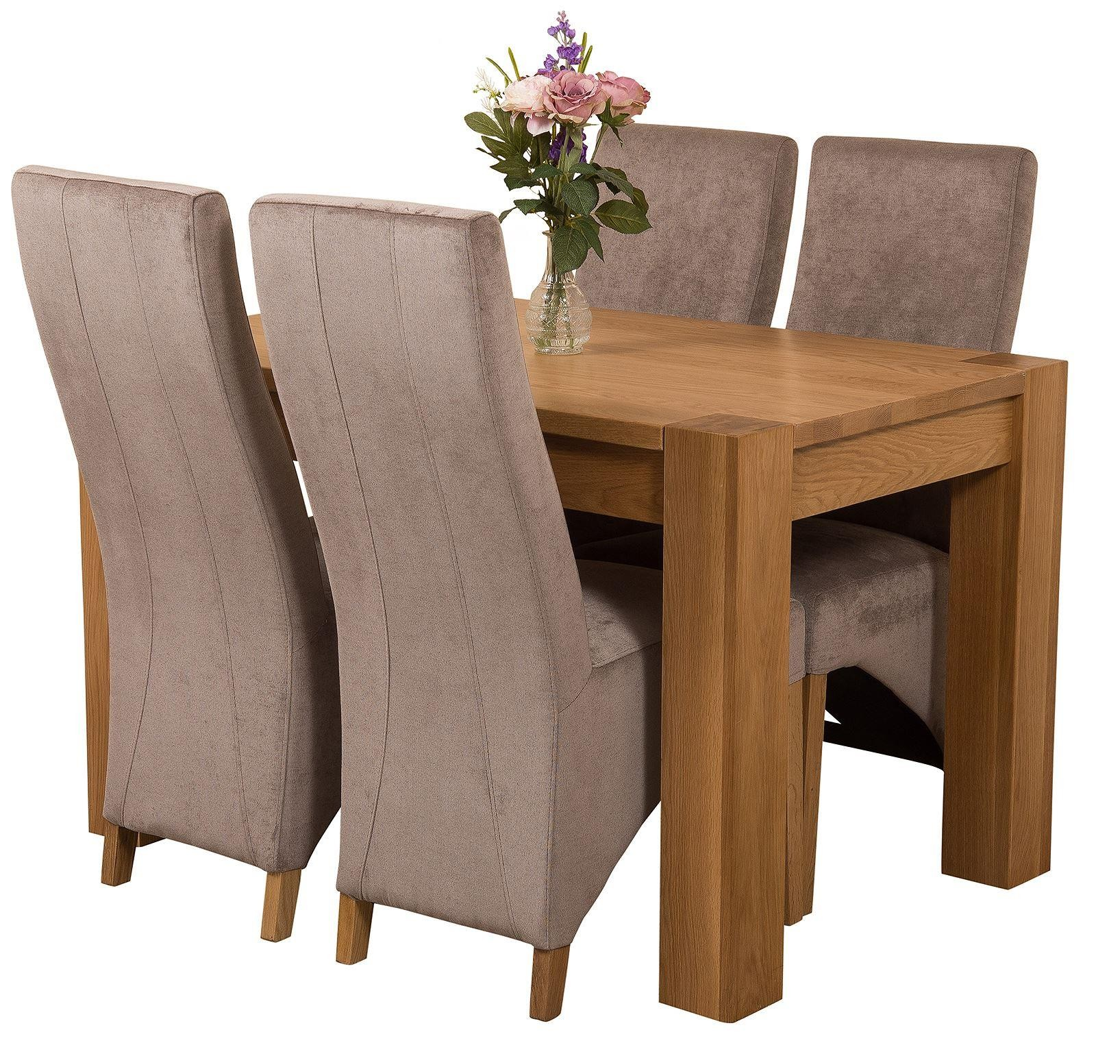 Kuba Solid Oak 125cm Dining Table with 4 Lola Dining Chairs [Grey Fabric]