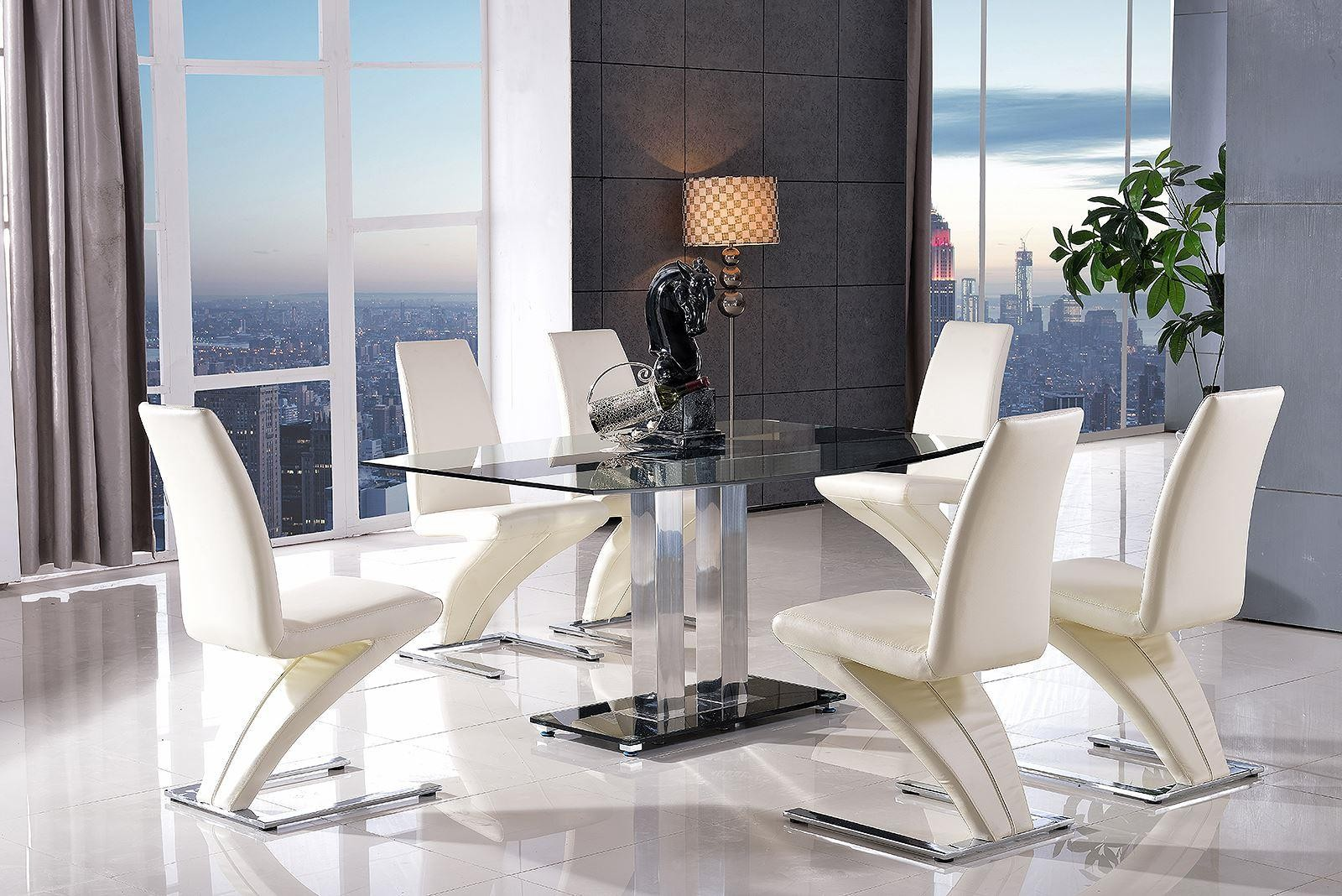 Roma Black Glass Dining Table with 4 Zed Designer Dining Chairs [Ivory]