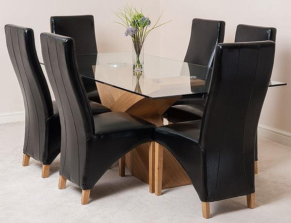 Valencia Oak 200cm Wood and Glass Dining Table with 6 Lola Dining Chairs [Black Leather]