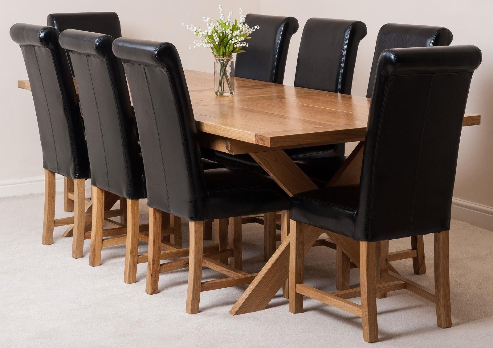 Vermont Solid Oak 200cm-240cm Crossed Leg Extending Dining Table with 8 Washington Dining Chairs [Black Leather]