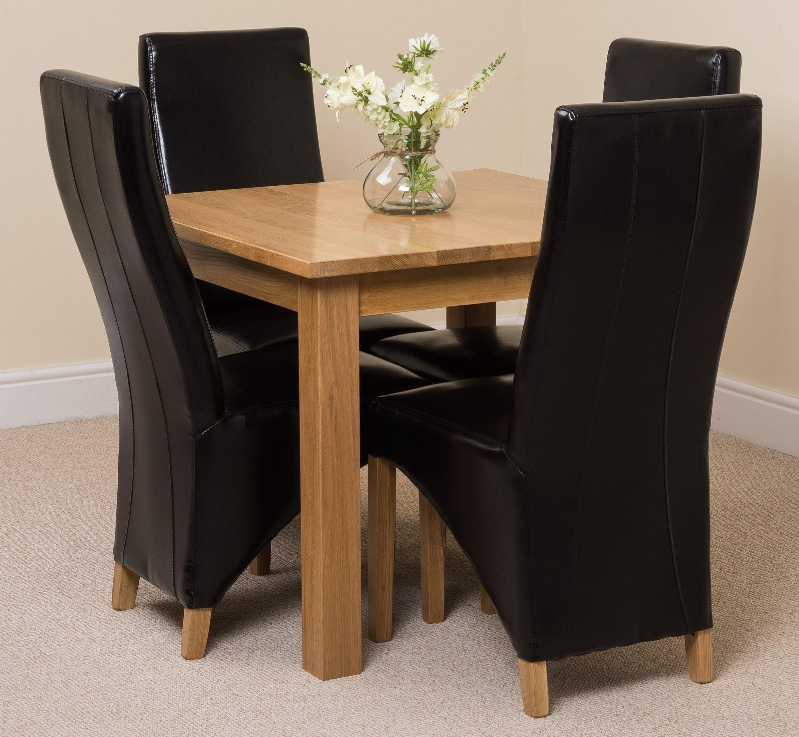 Oslo Solid Oak Dining Table with 4 Lola Dining Chairs [Black Leather]